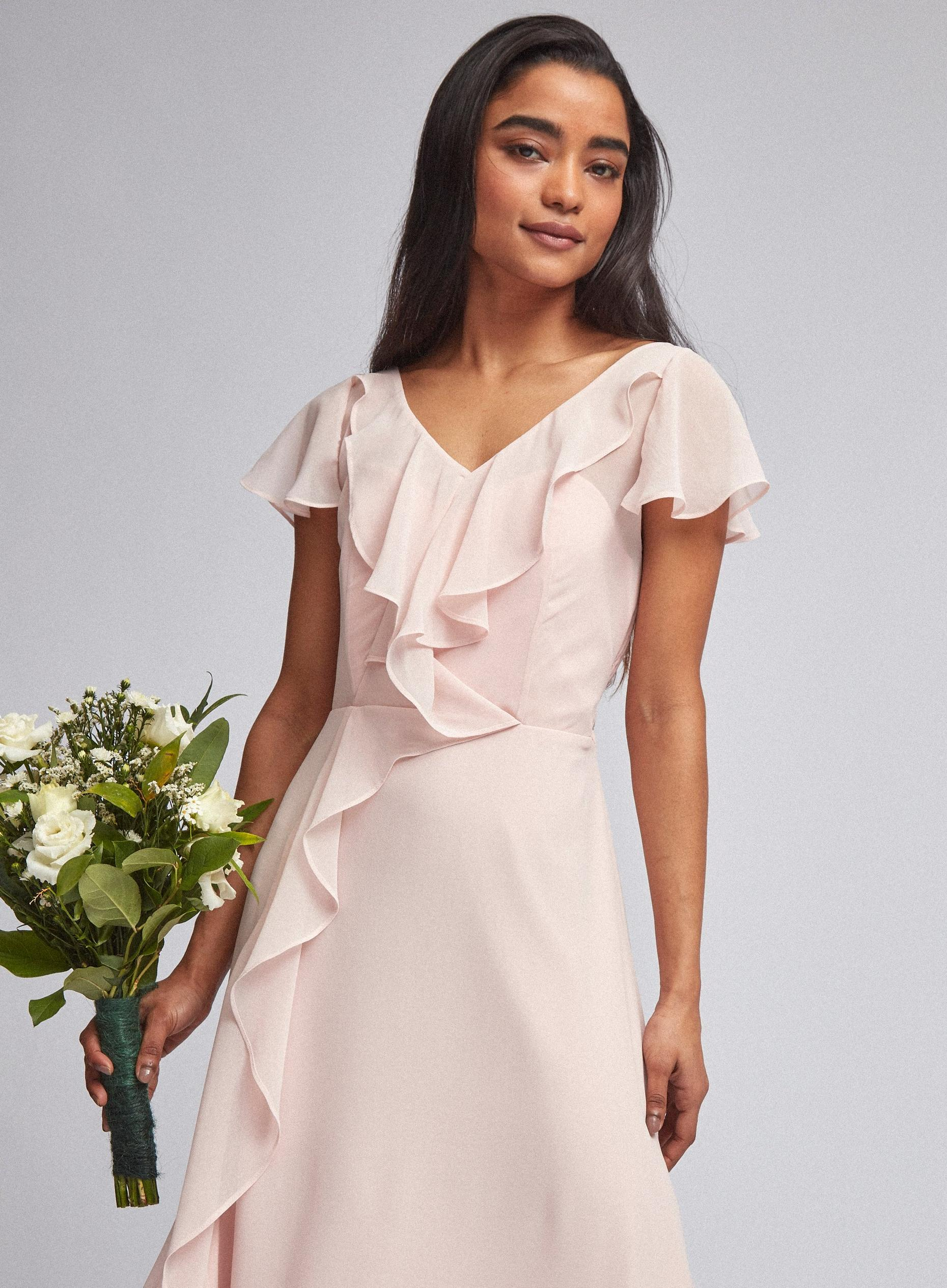 Petite Riley Blush Ruffle Maxi Dress
