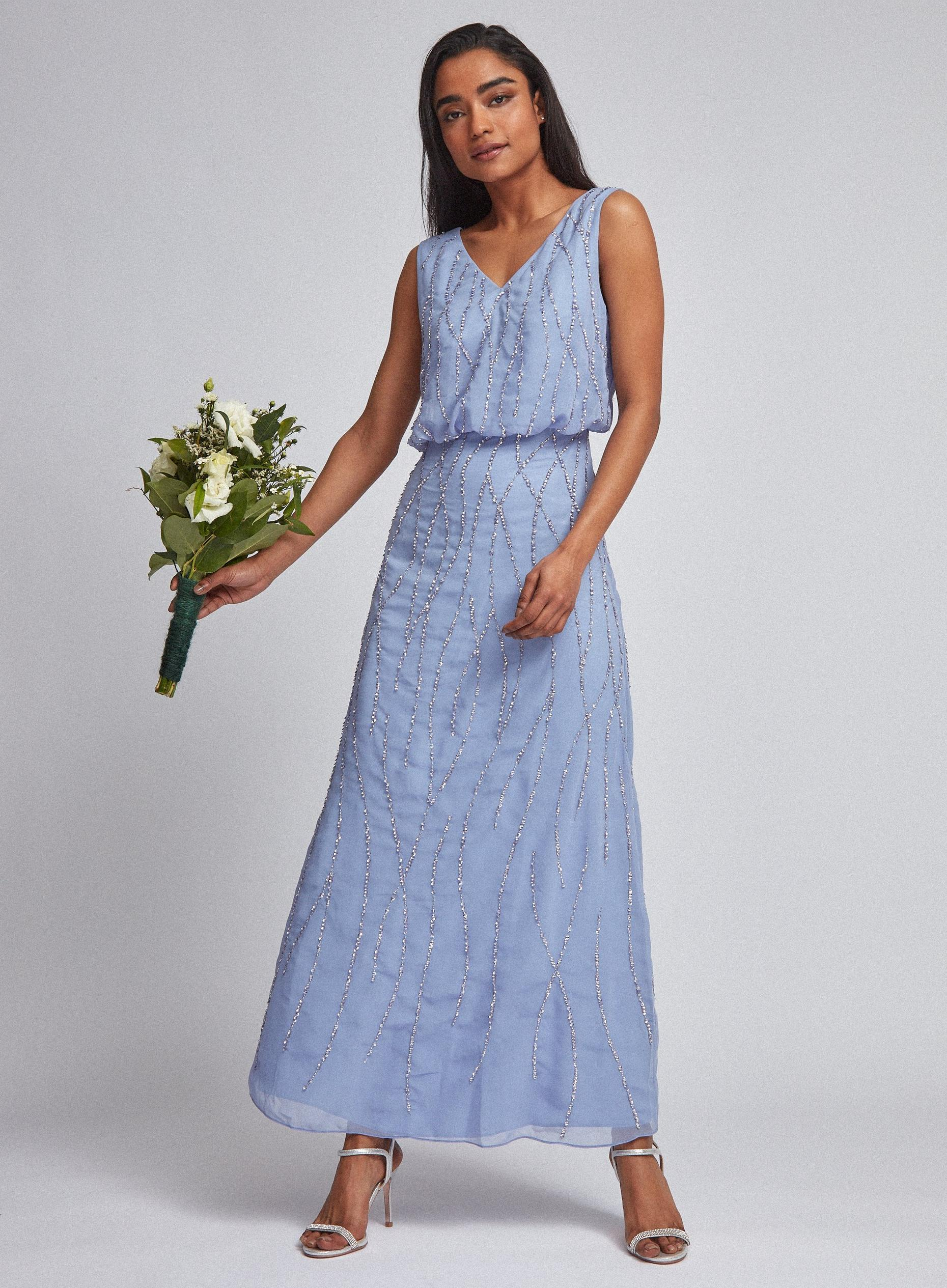Petite Blue Bridesmaid Morgan Maxi Dress