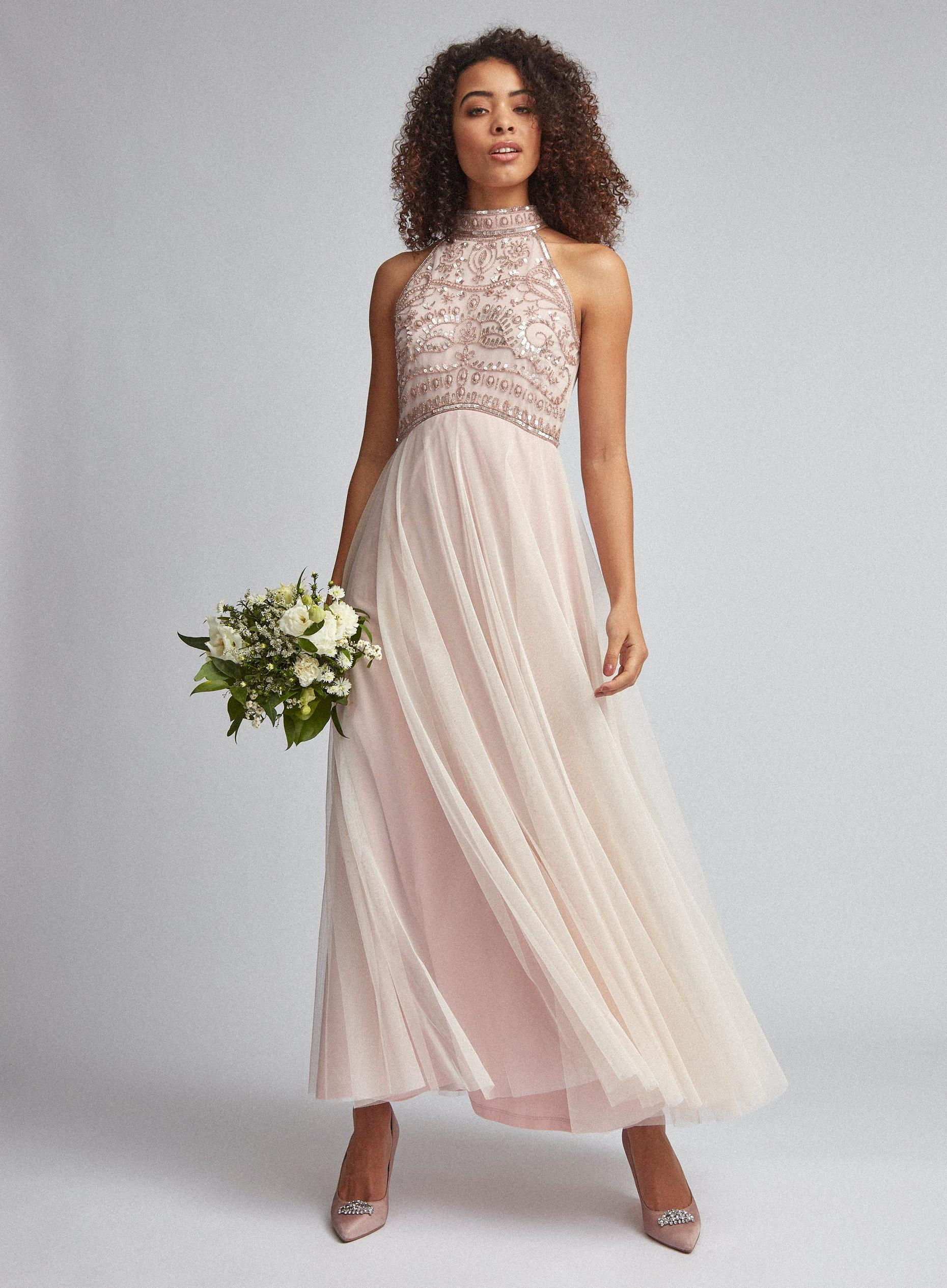 Tall Eleanor Blush Beaded Maxi Dress