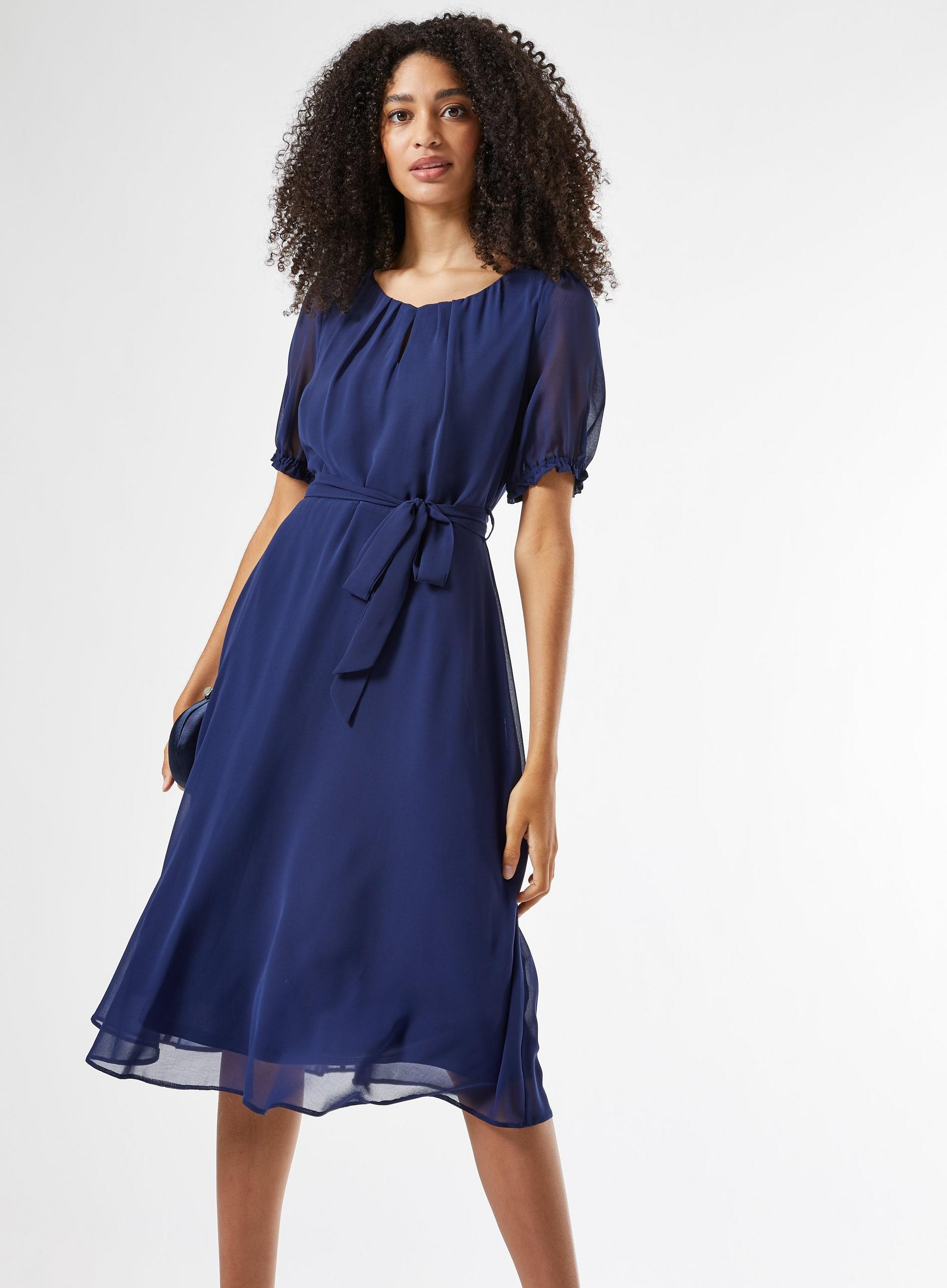 Navy Key Hole Midi Dress