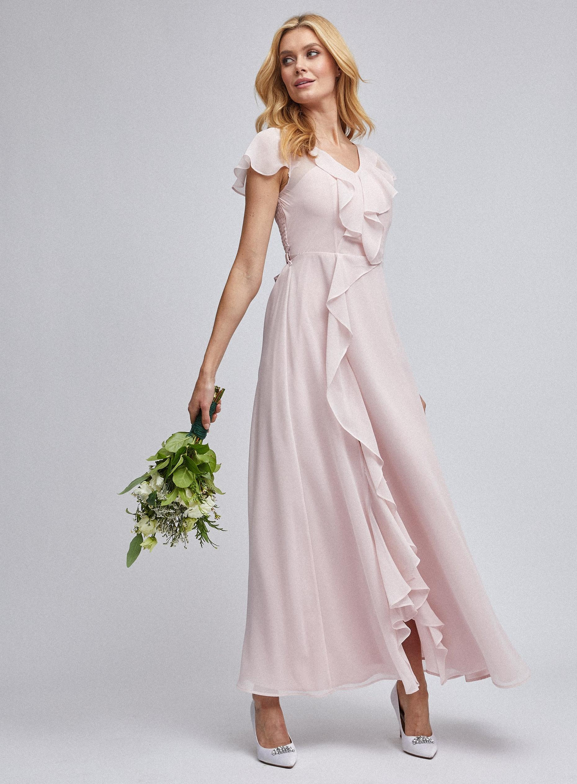 Riley Blush Ruffle Maxi Dress
