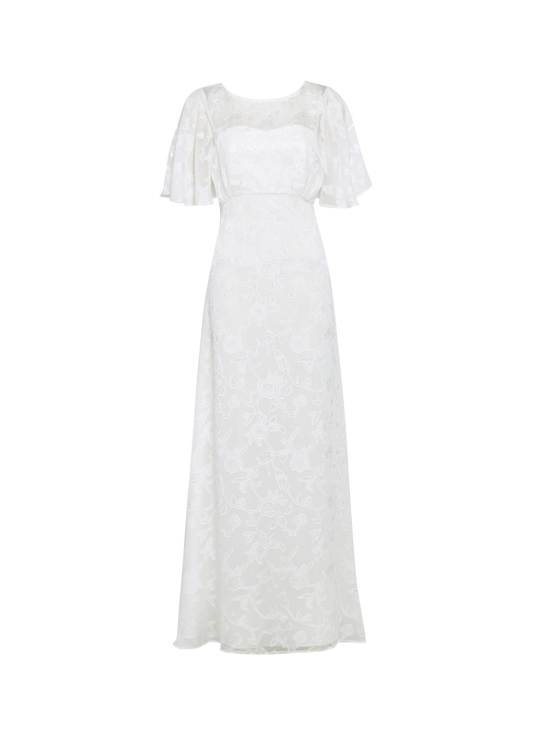 Leyla Off White Bridal Burnout Maxi Dress