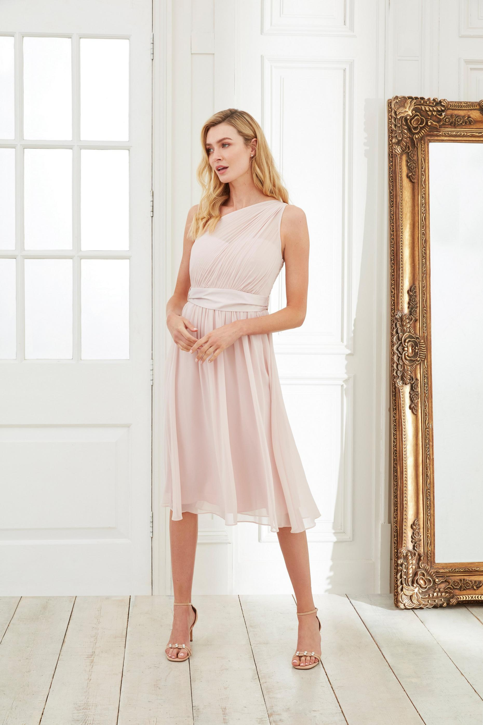 Jenni Blush One Shoulder Midi Dress