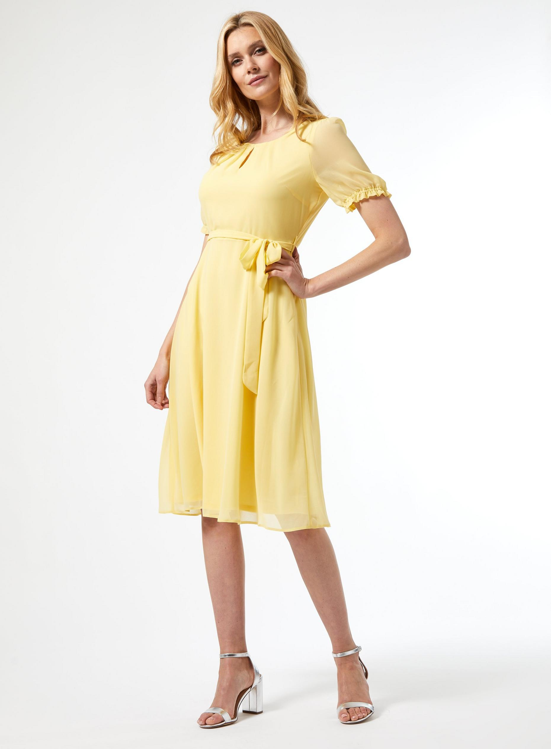Billie Lemon Key Hole Puff Midi Dress
