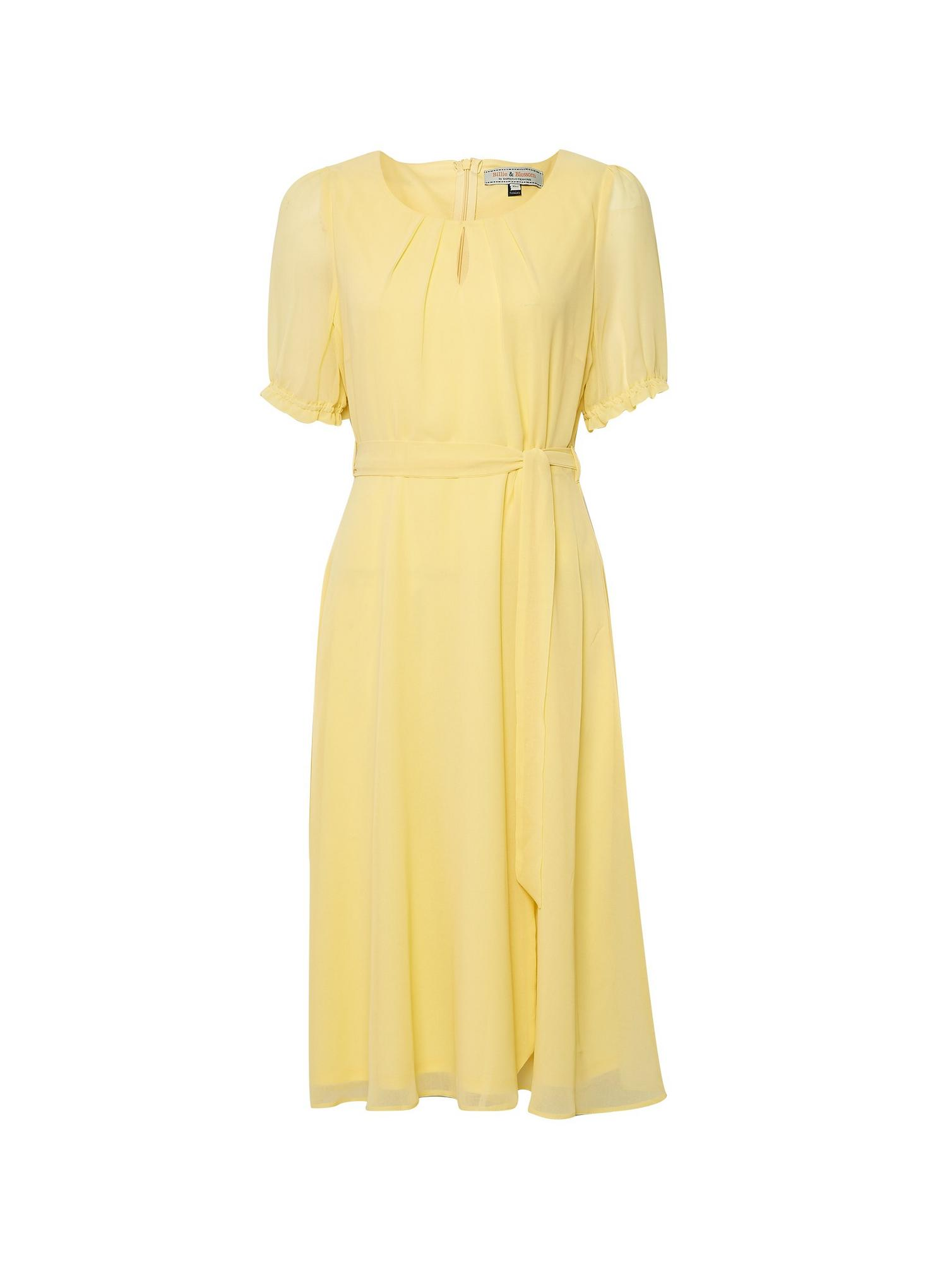 174 Billie Lemon Key Hole Puff Midi Dress image number 2