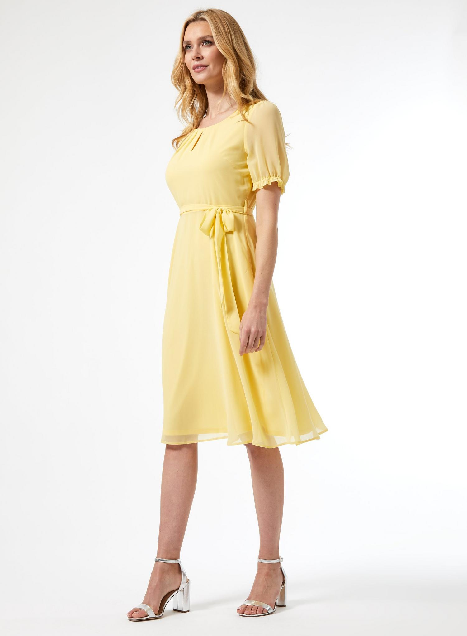 174 Billie Lemon Key Hole Puff Midi Dress image number 3