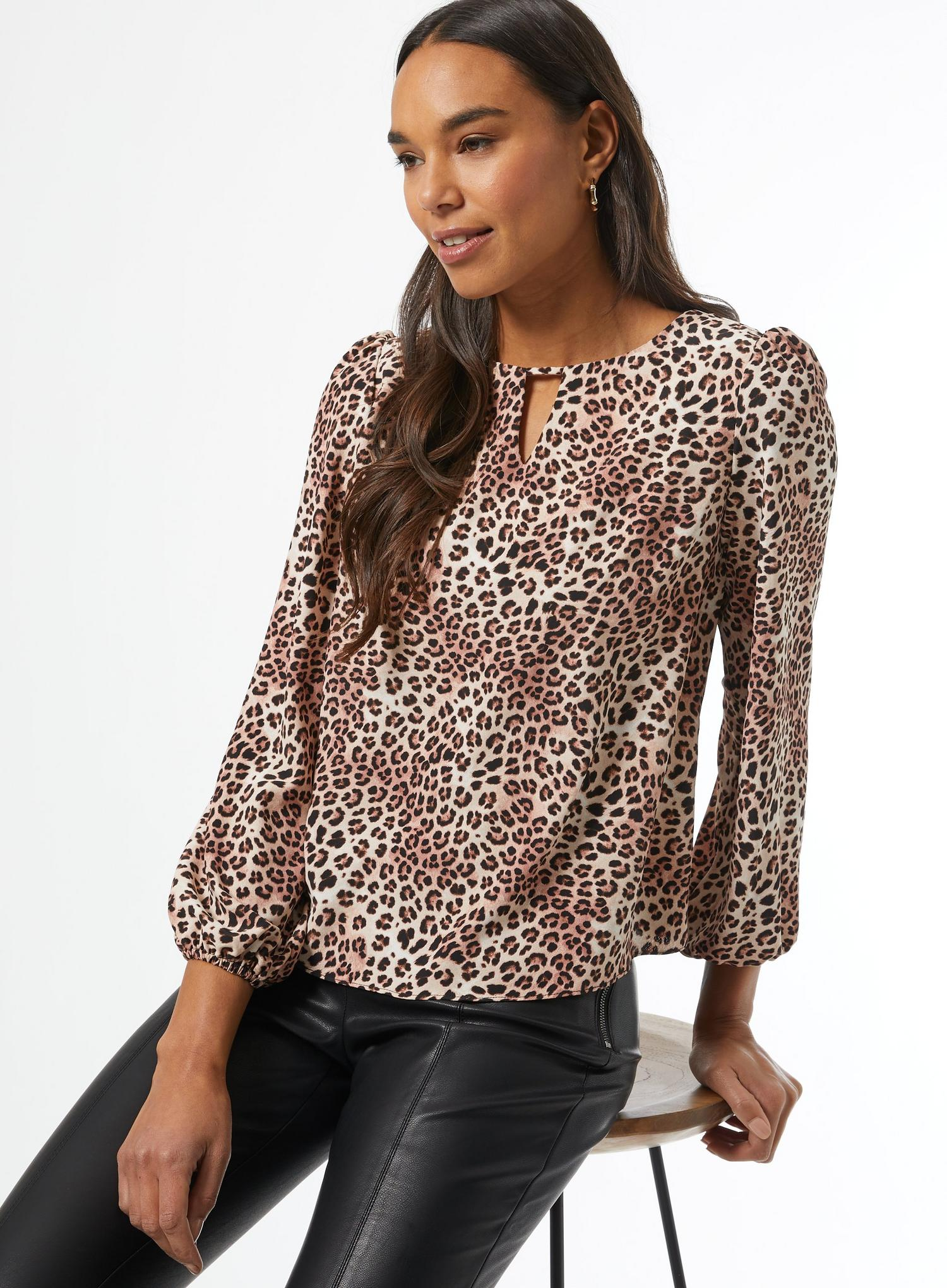 123 White Leopard Print Blouse image number 1