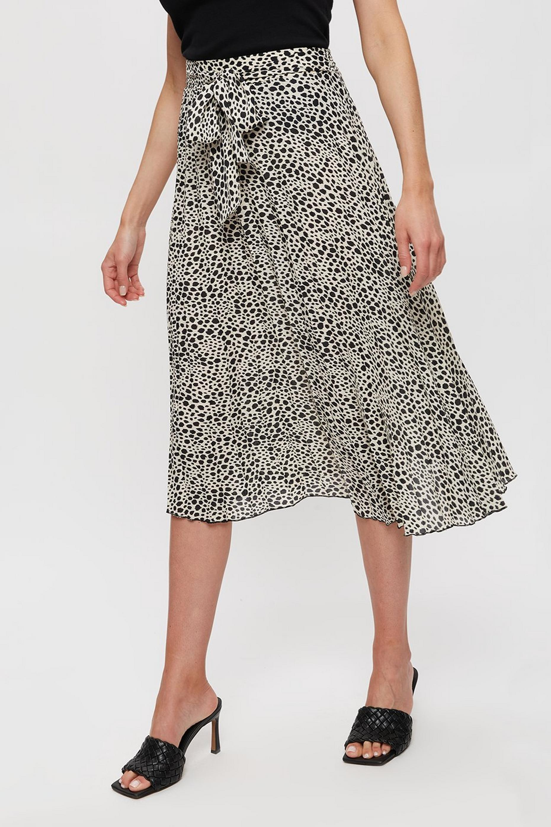Multi Colour Leopard Print Ruched Midi Skirt