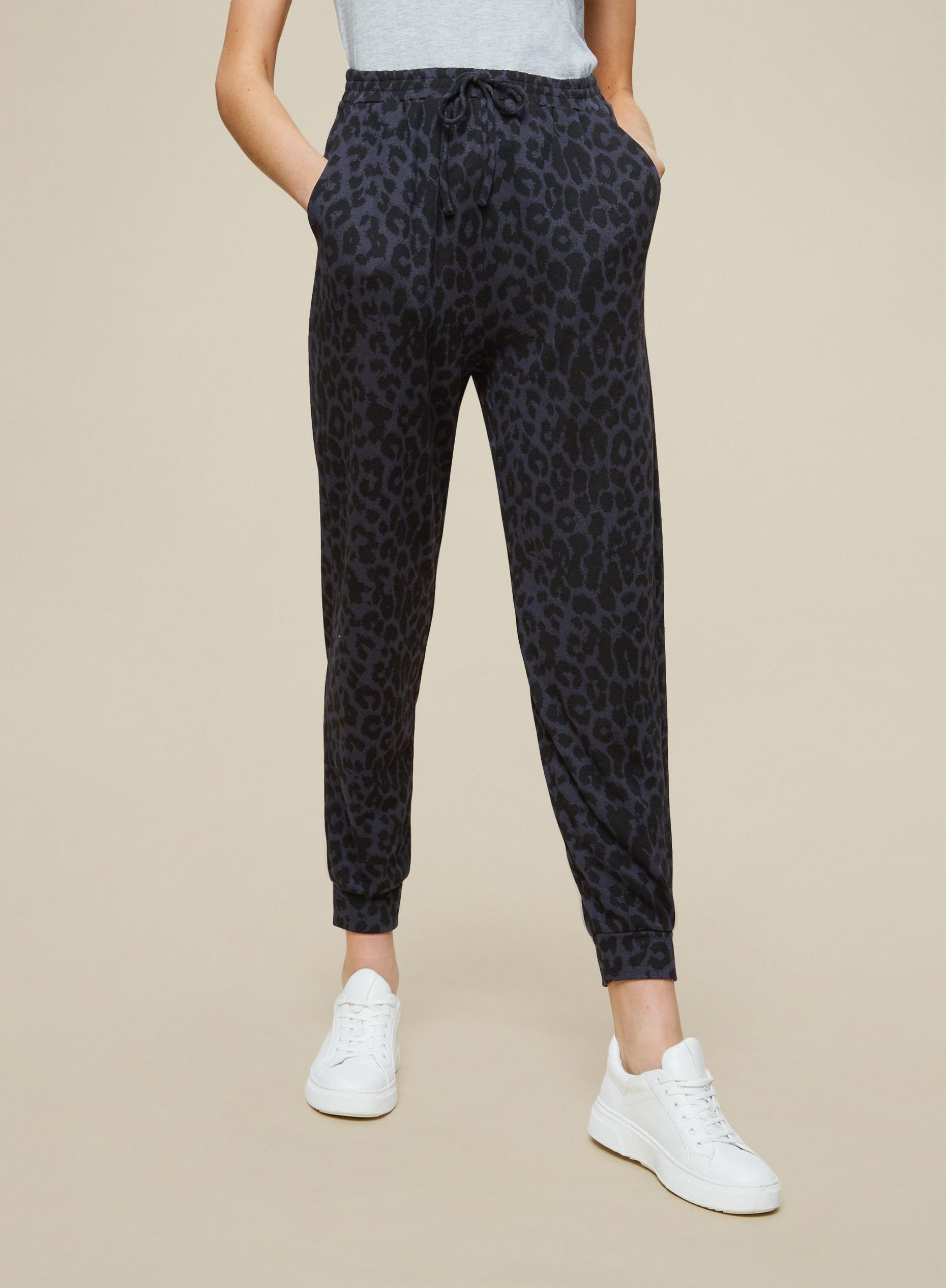 Black Animal Print Cuffed Leg Joggers