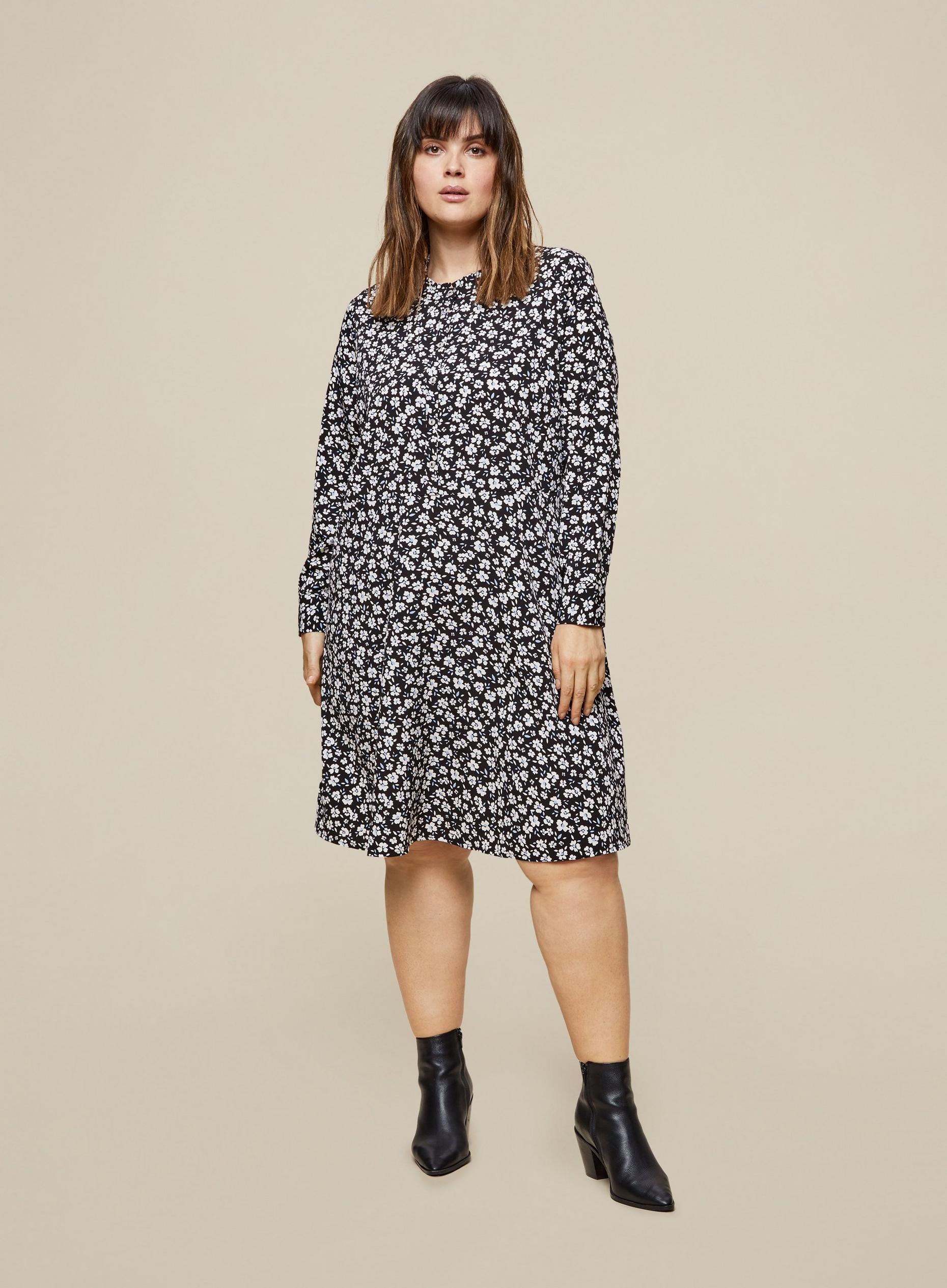 Curve Woven Floral Print Shirt Dress