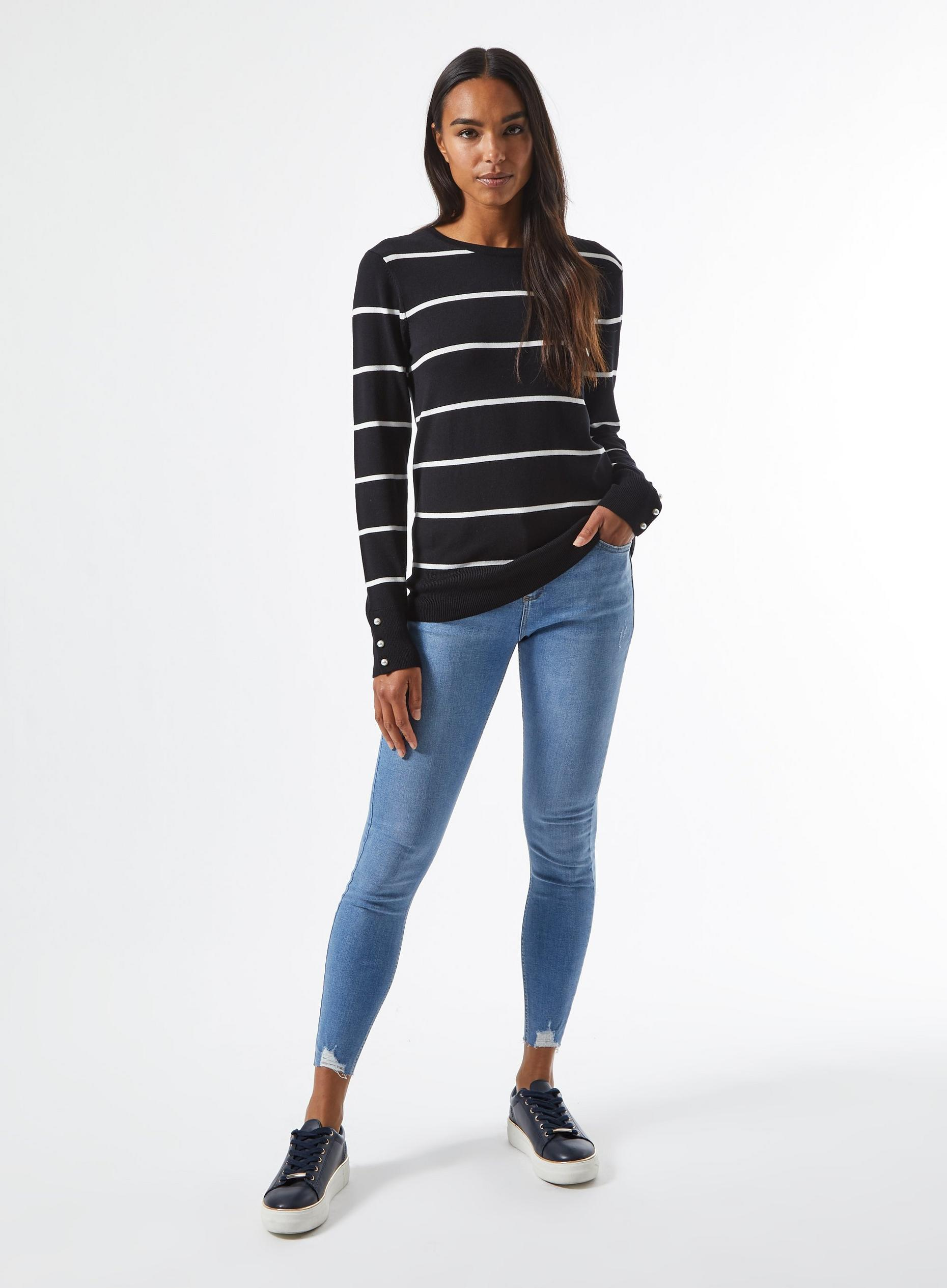 Black And White Stripe Pearl Cuff Crew Jumper