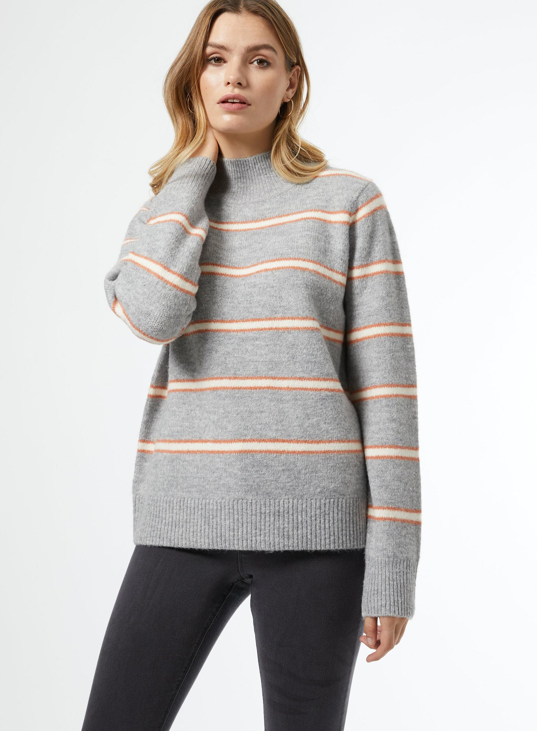 Grey High Neck Striped Jumper