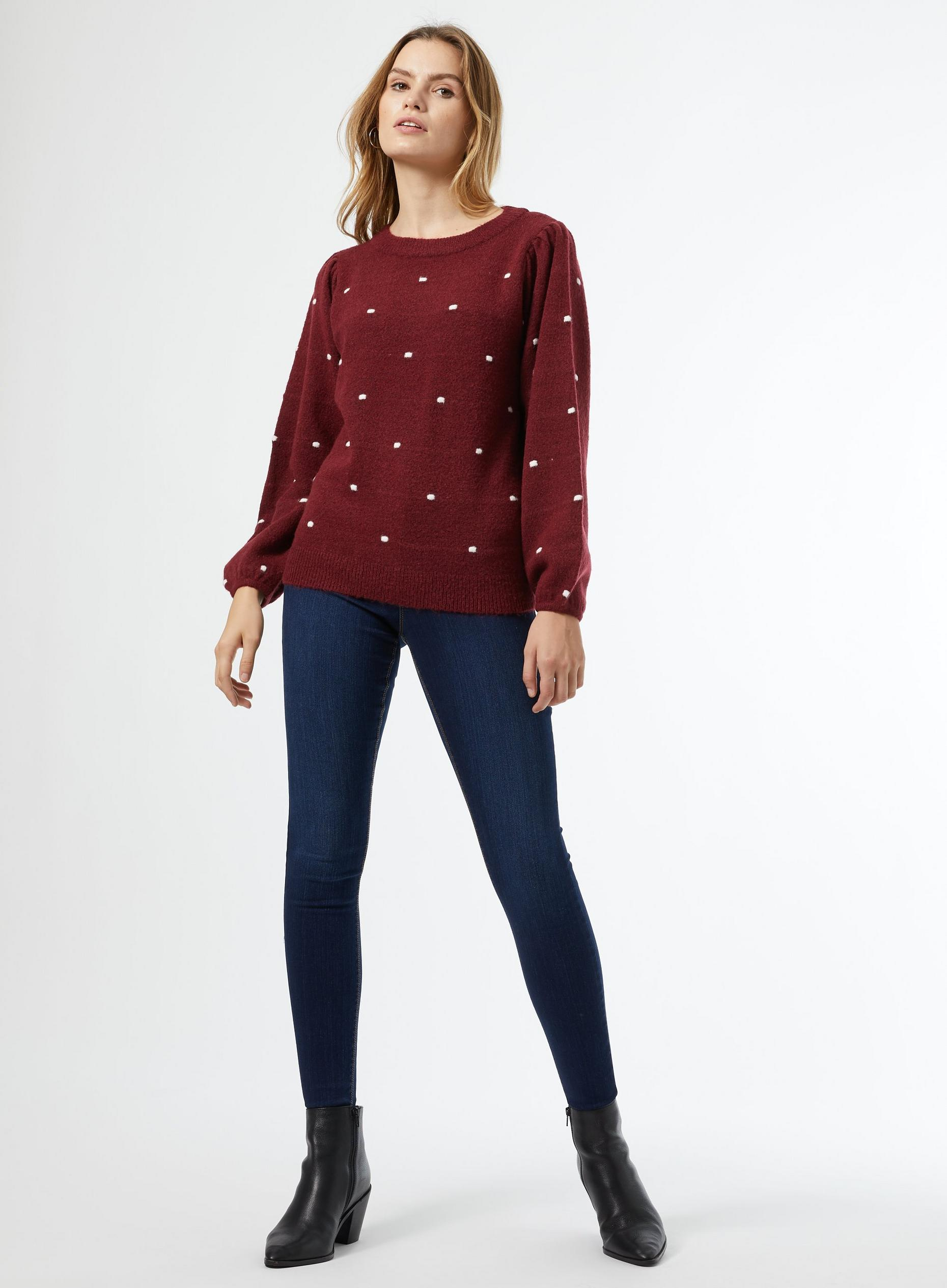 Burgundy All Over Bobble Jumper