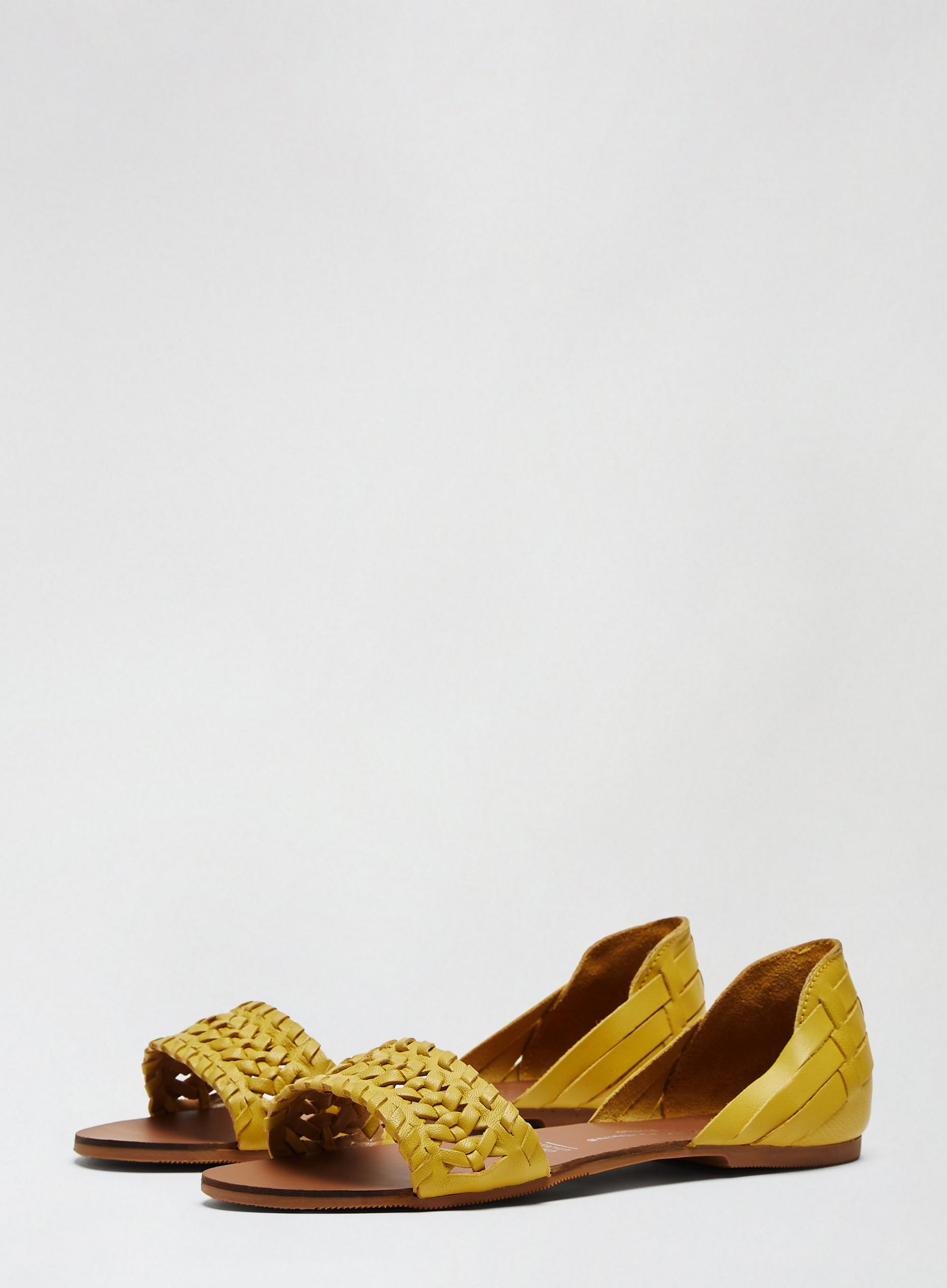 Yellow Leather Jingly Sandals