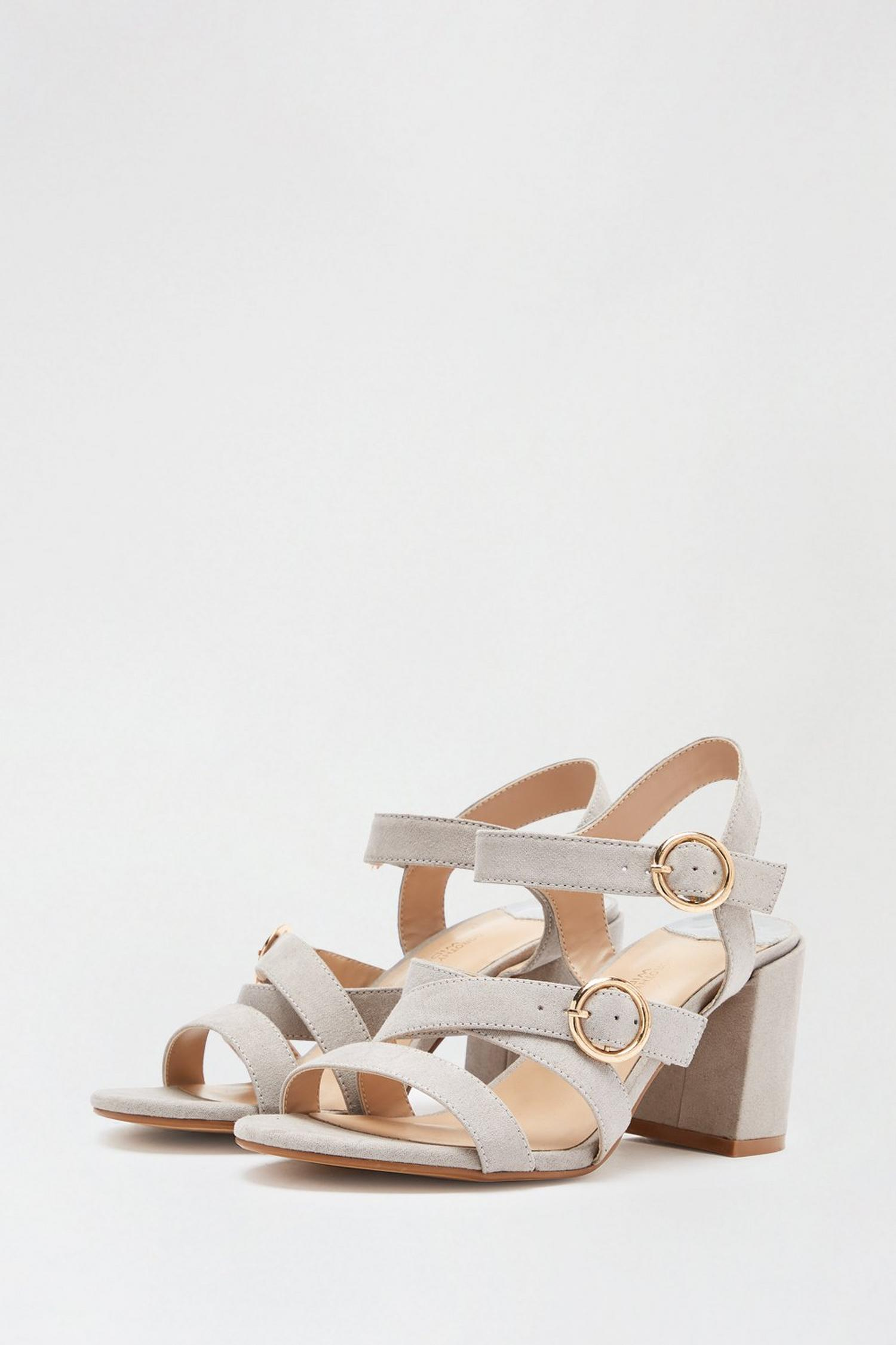131 Wide Fit Grey Saffi Strappy Heeled Sandal image number 2