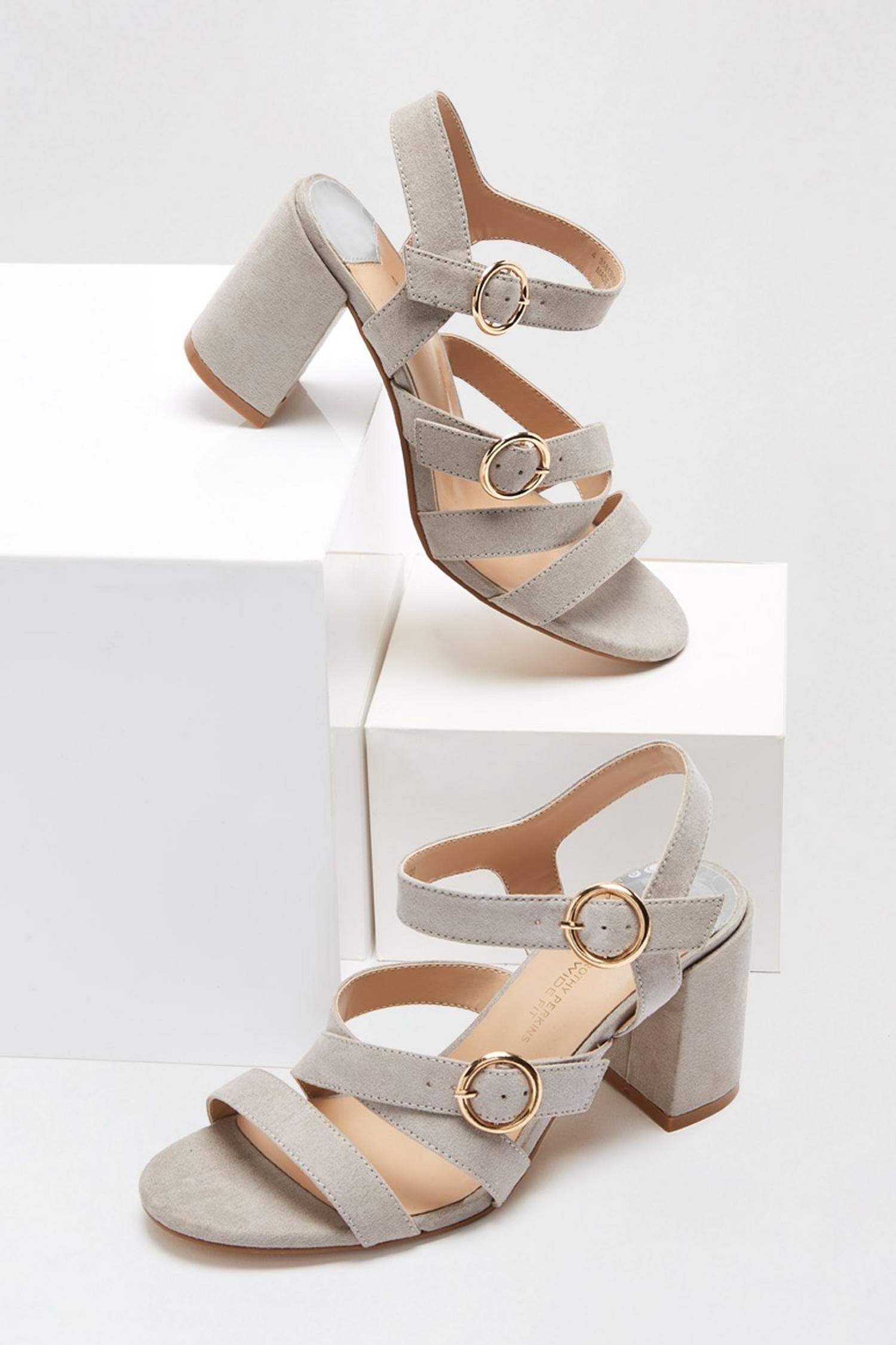 131 Wide Fit Grey Saffi Strappy Heeled Sandal image number 3