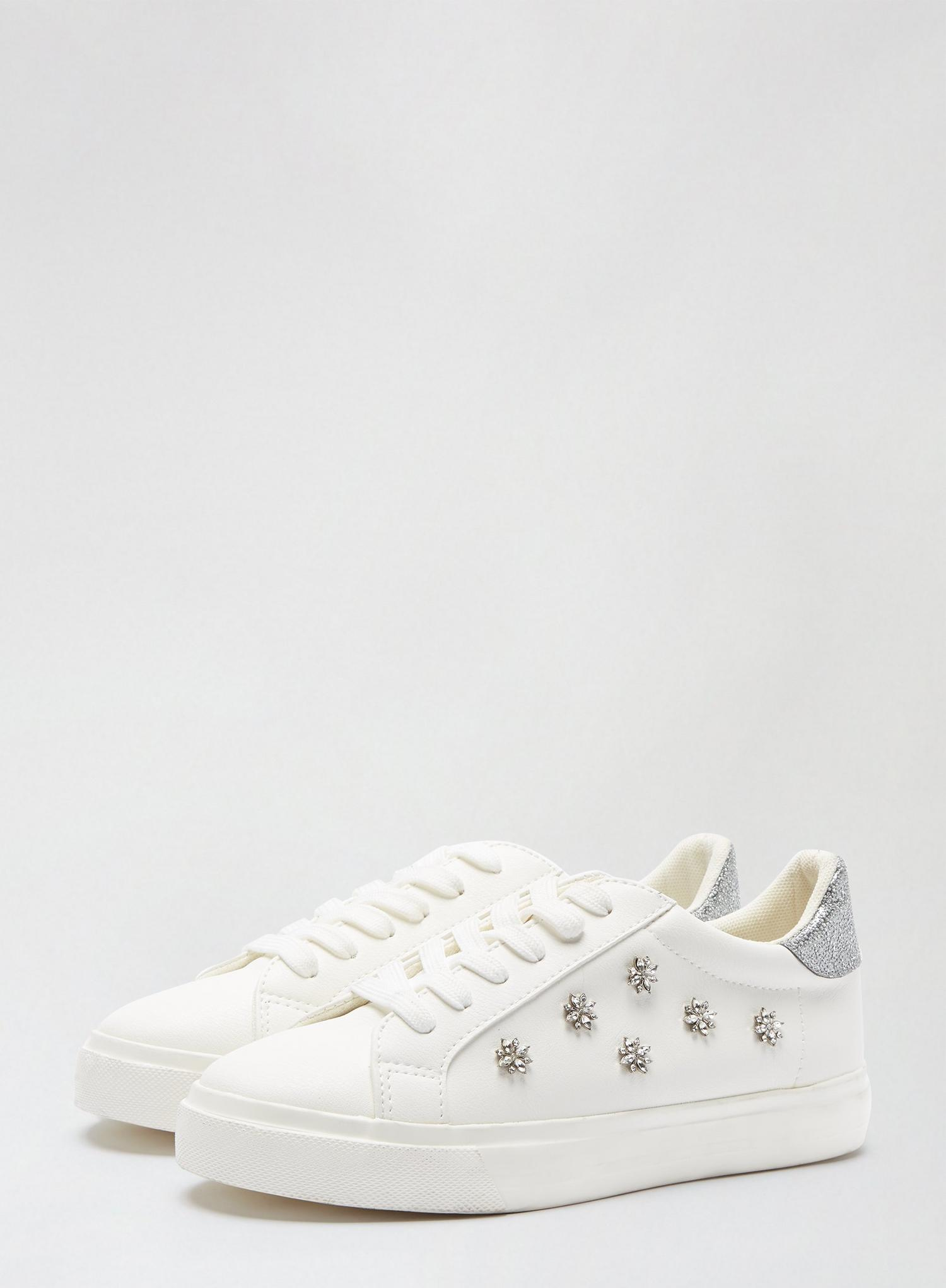 173 Wide Fit White Ilex Bling Trainers image number 1
