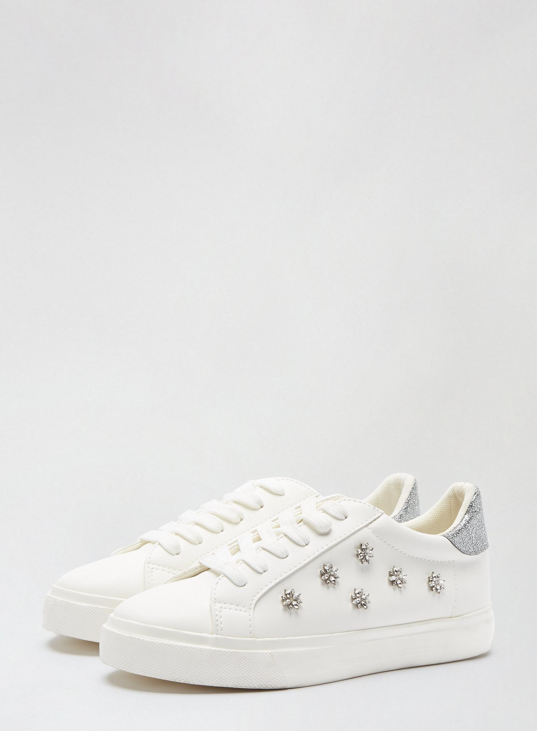 Wide Fit White Ilex Bling Trainers