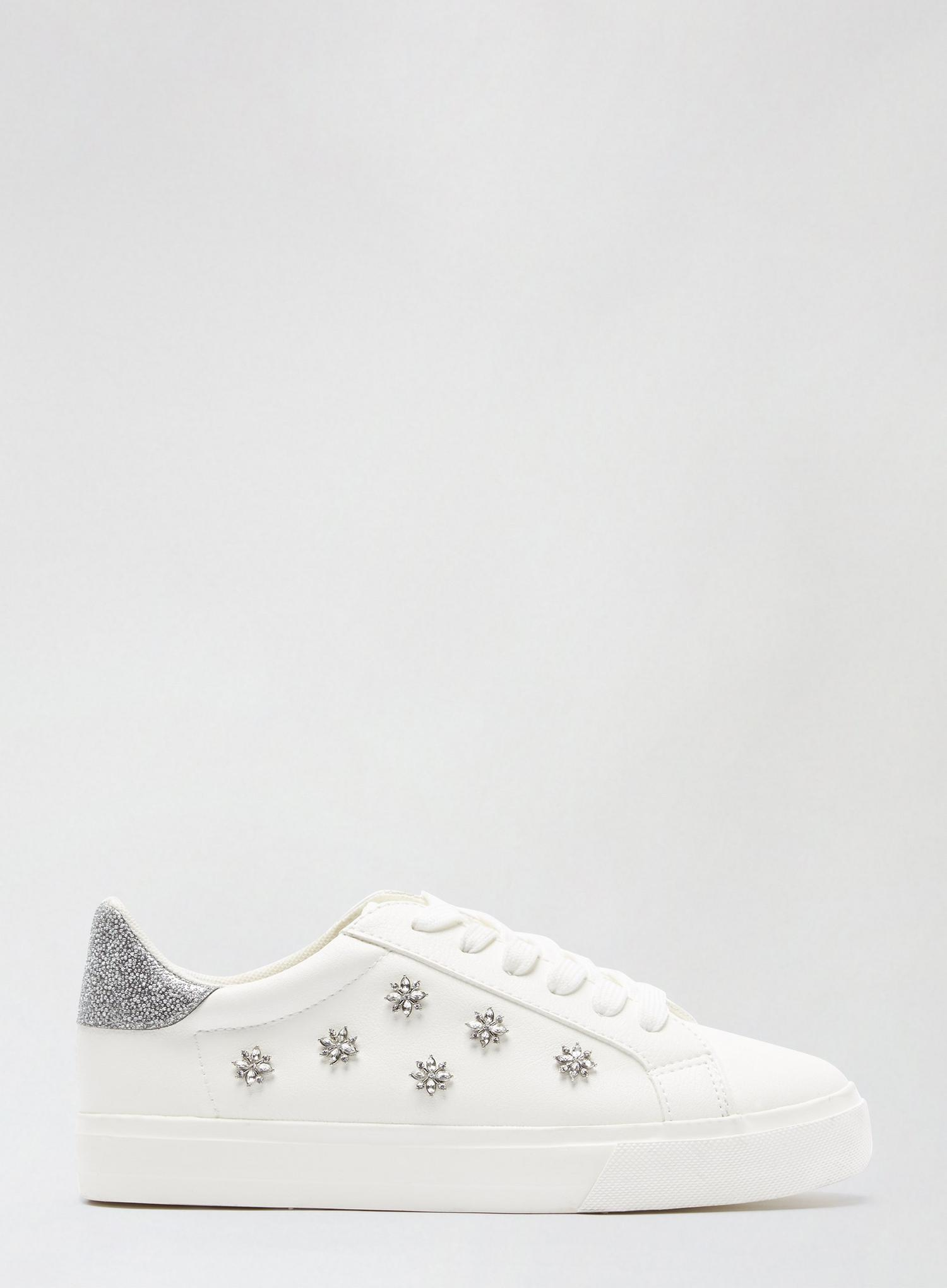 173 Wide Fit White Ilex Bling Trainers image number 2