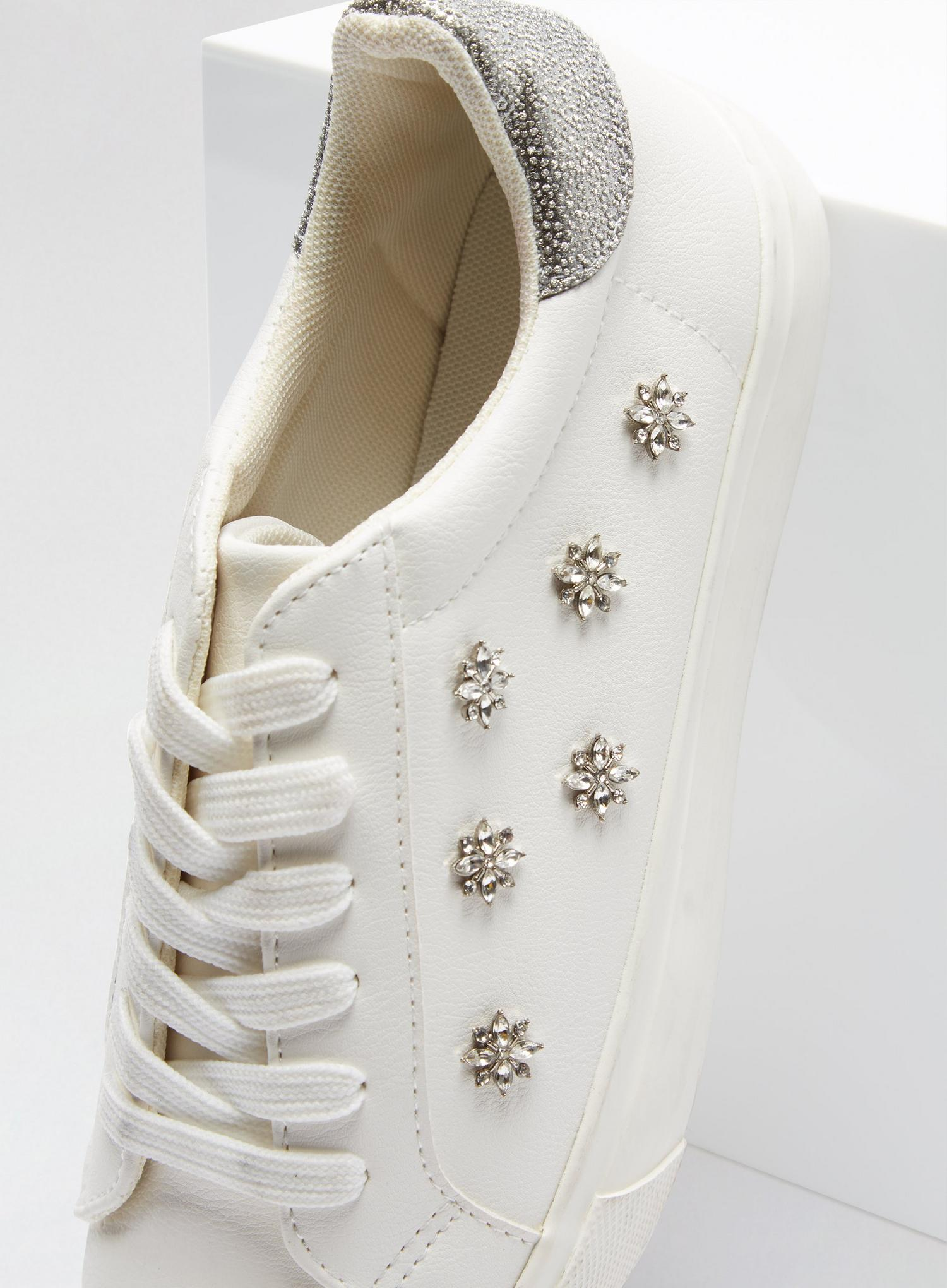 173 Wide Fit White Ilex Bling Trainers image number 3