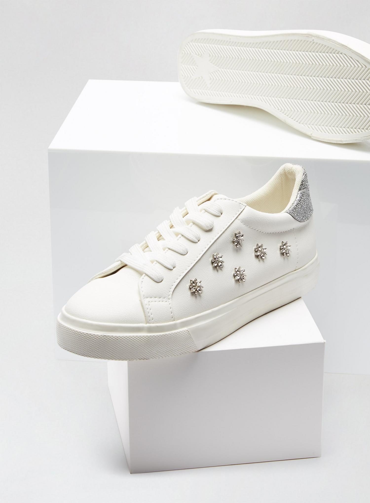 173 Wide Fit White Ilex Bling Trainers image number 4
