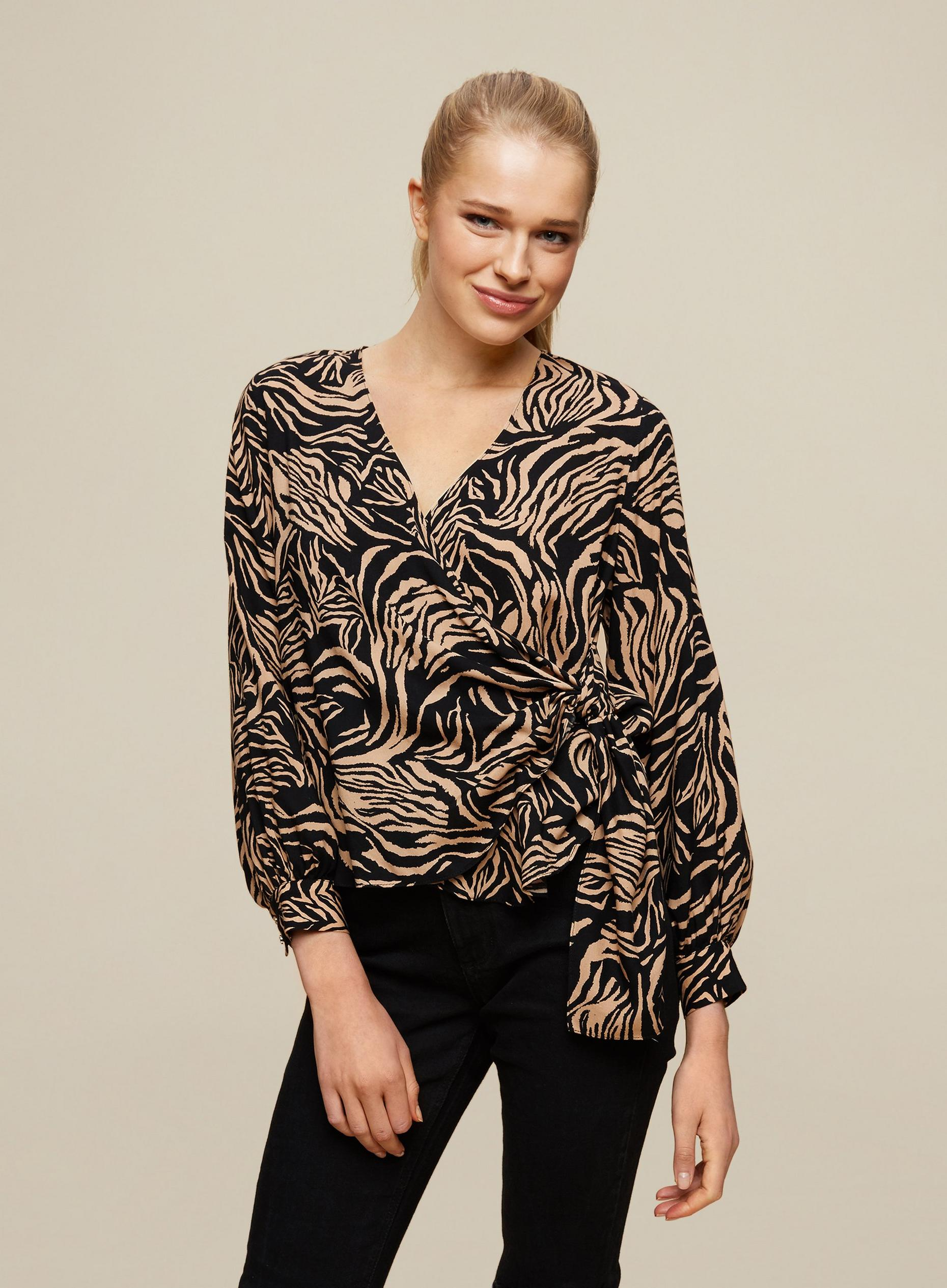 Black Tiger Print Wrap Top