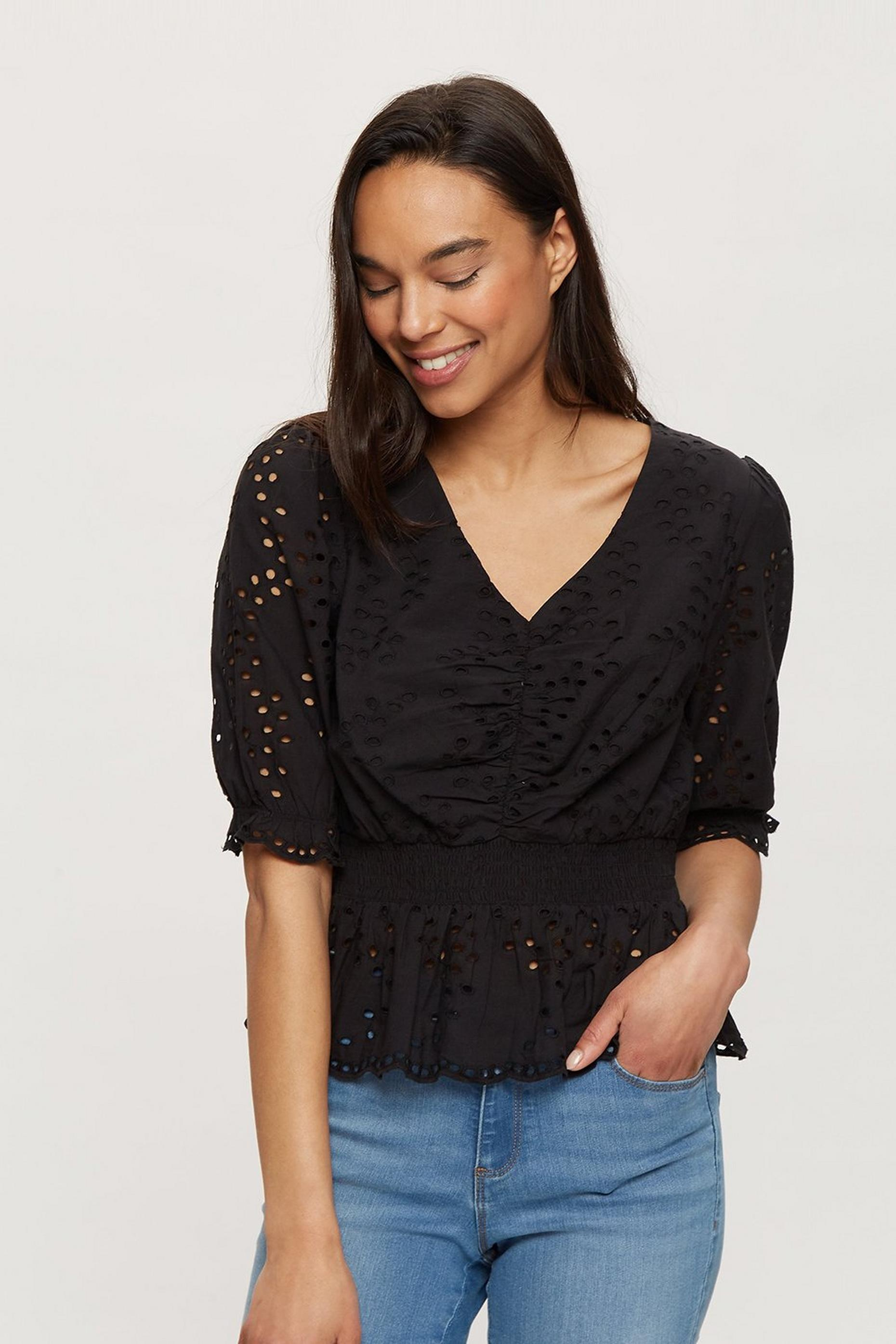 Black Broderie Peplum Hem Top