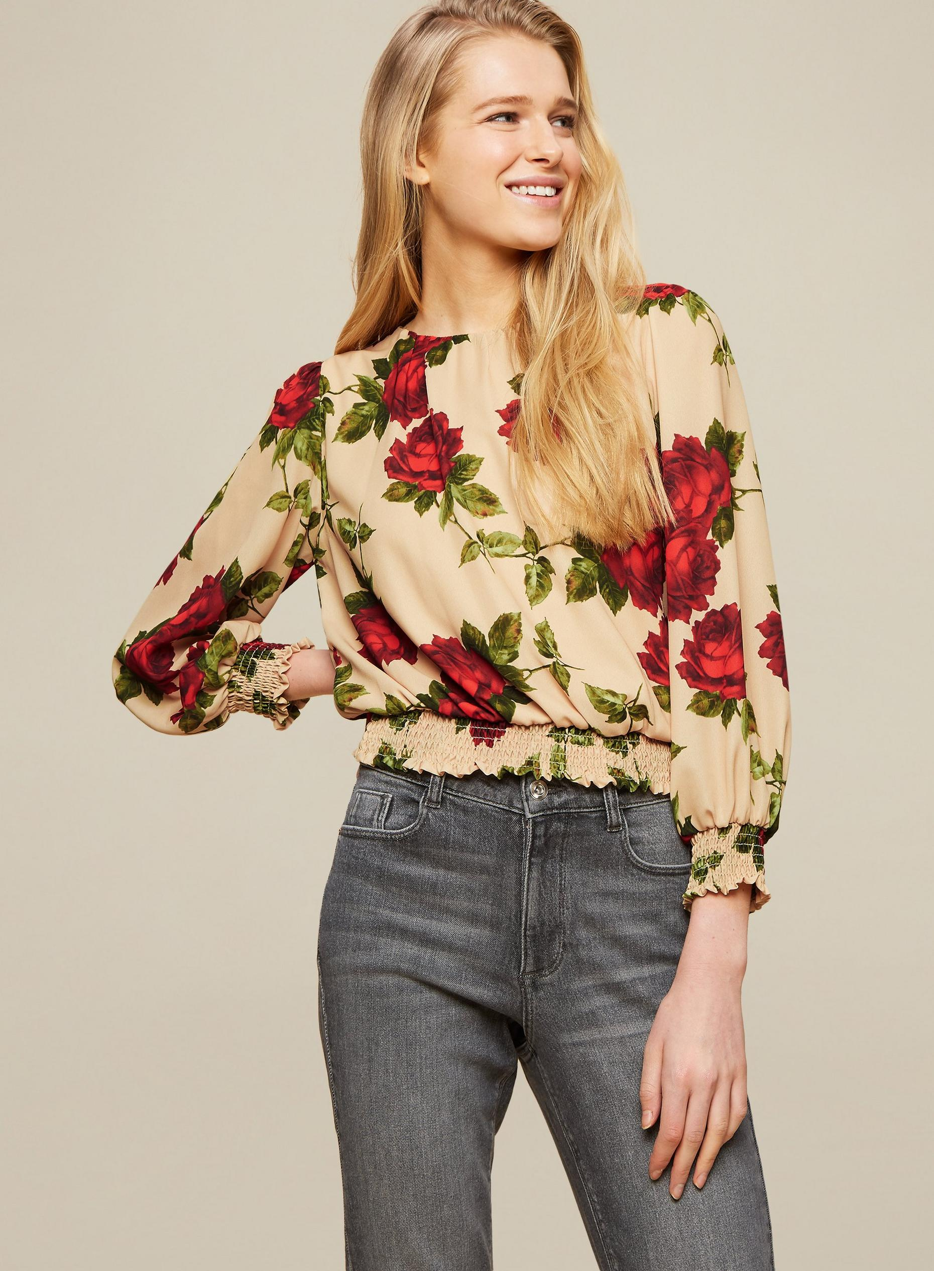 Camel Floral Print Shirred Hem Top