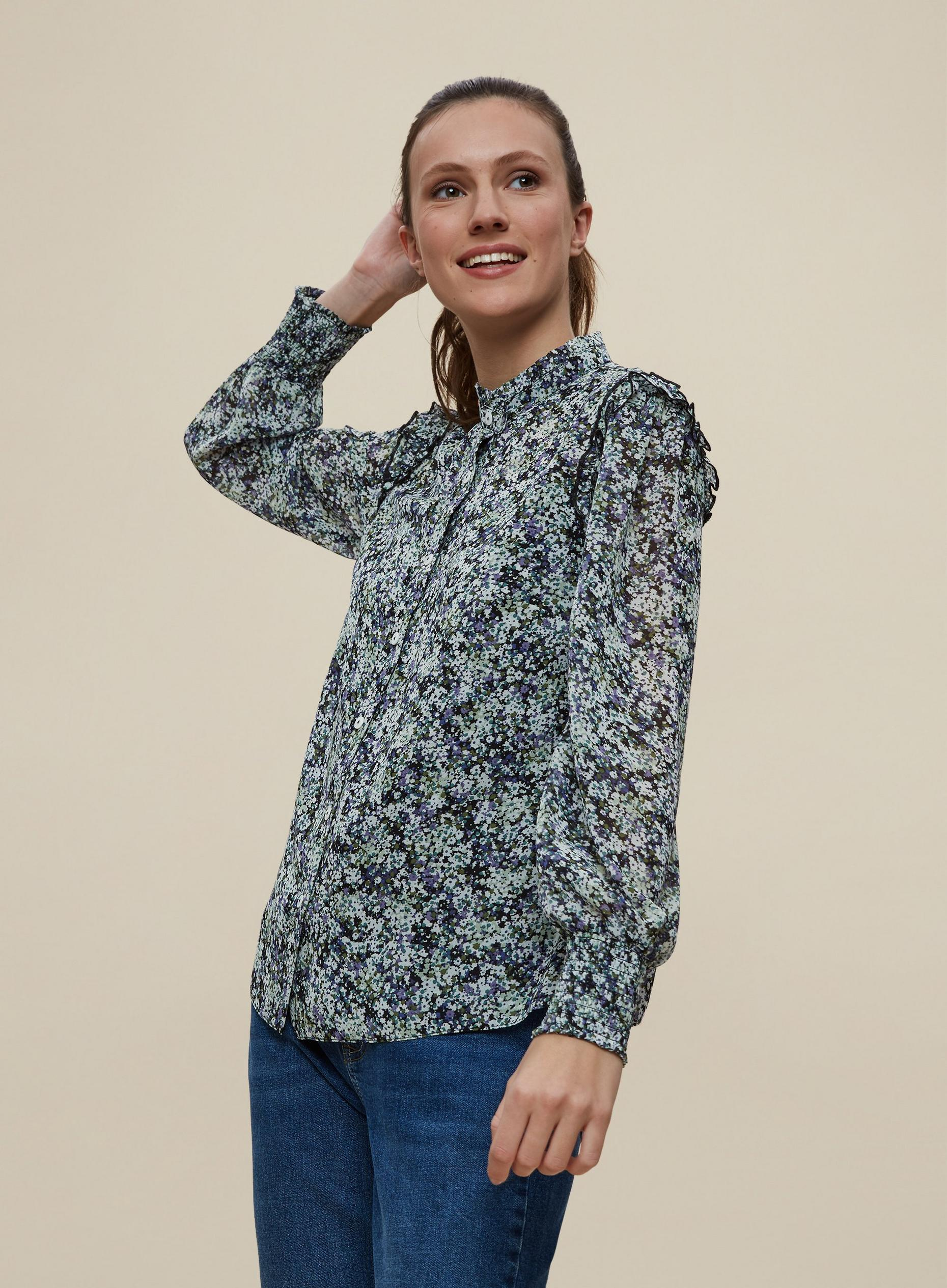 Blue Ditsy Print Frill Front Shirt