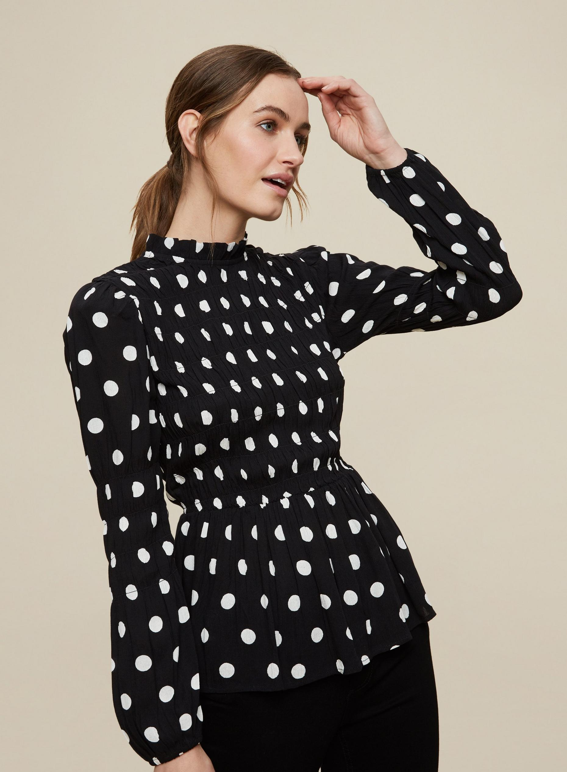 Black Spot Crinkle Shirred Body Top