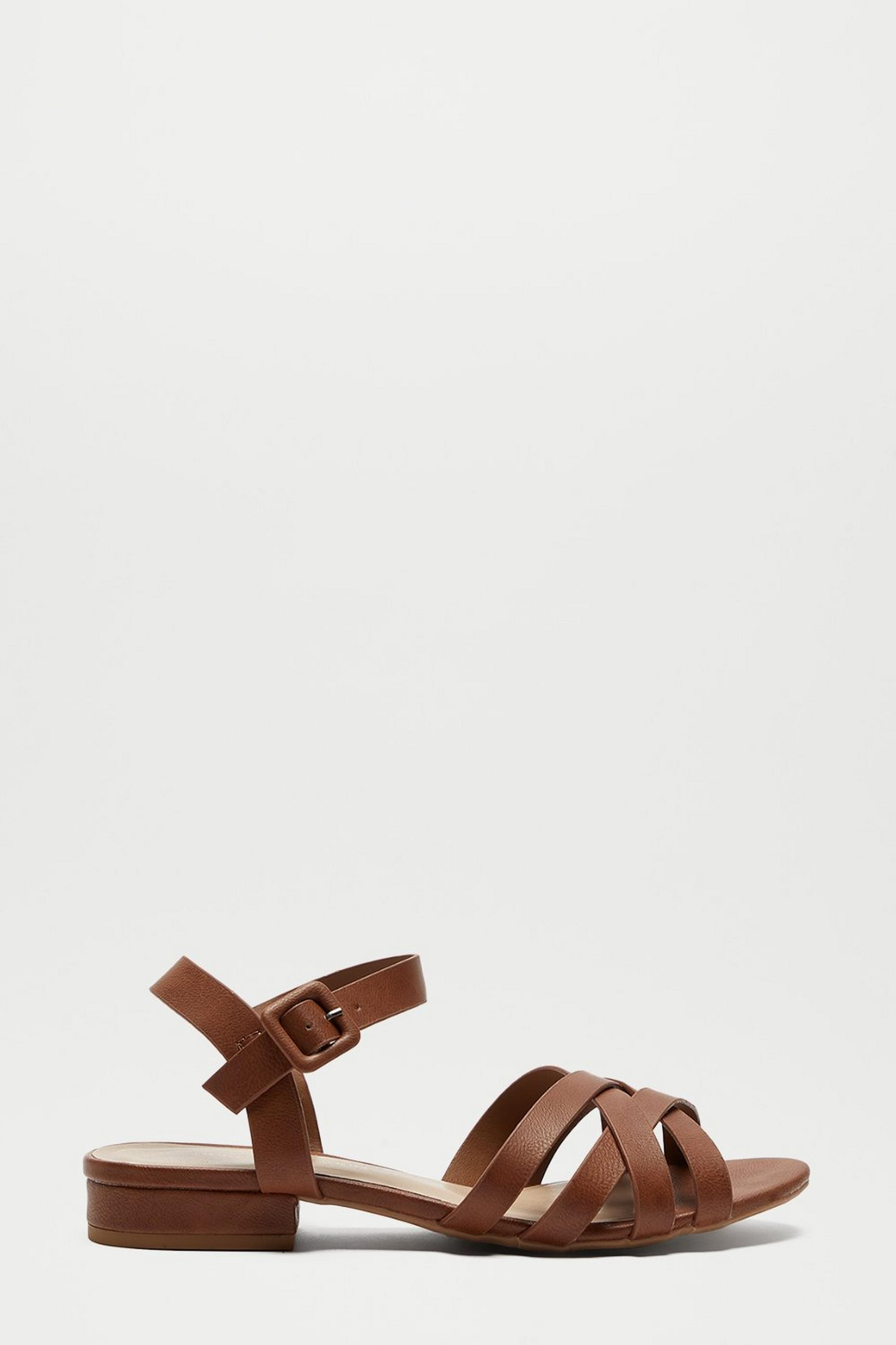 Tan Shelly Cross Strap Heeled SandalS