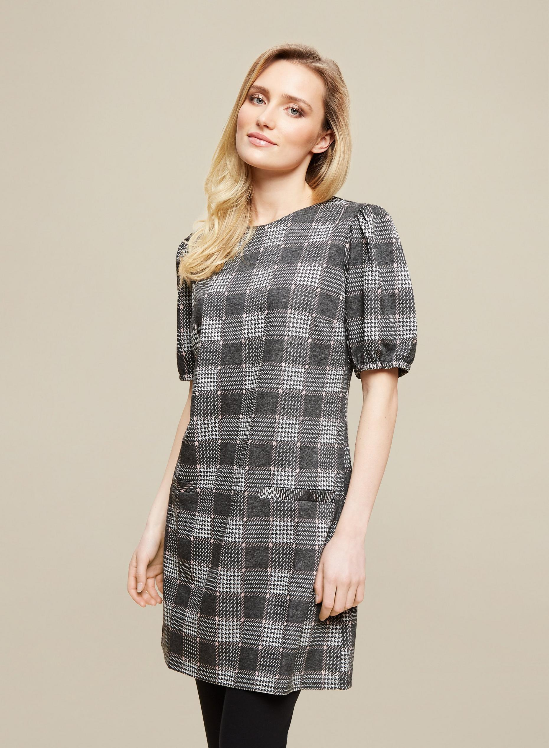 Grey Check Print Tunic