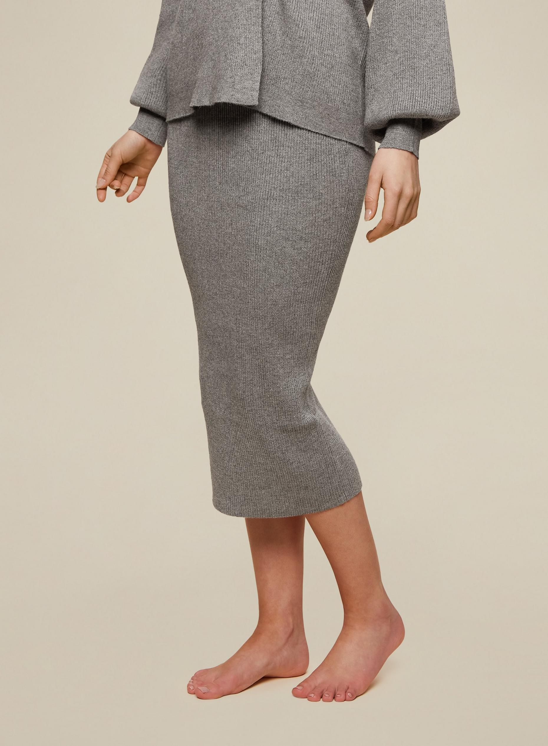 Grey Ribbed Skirt