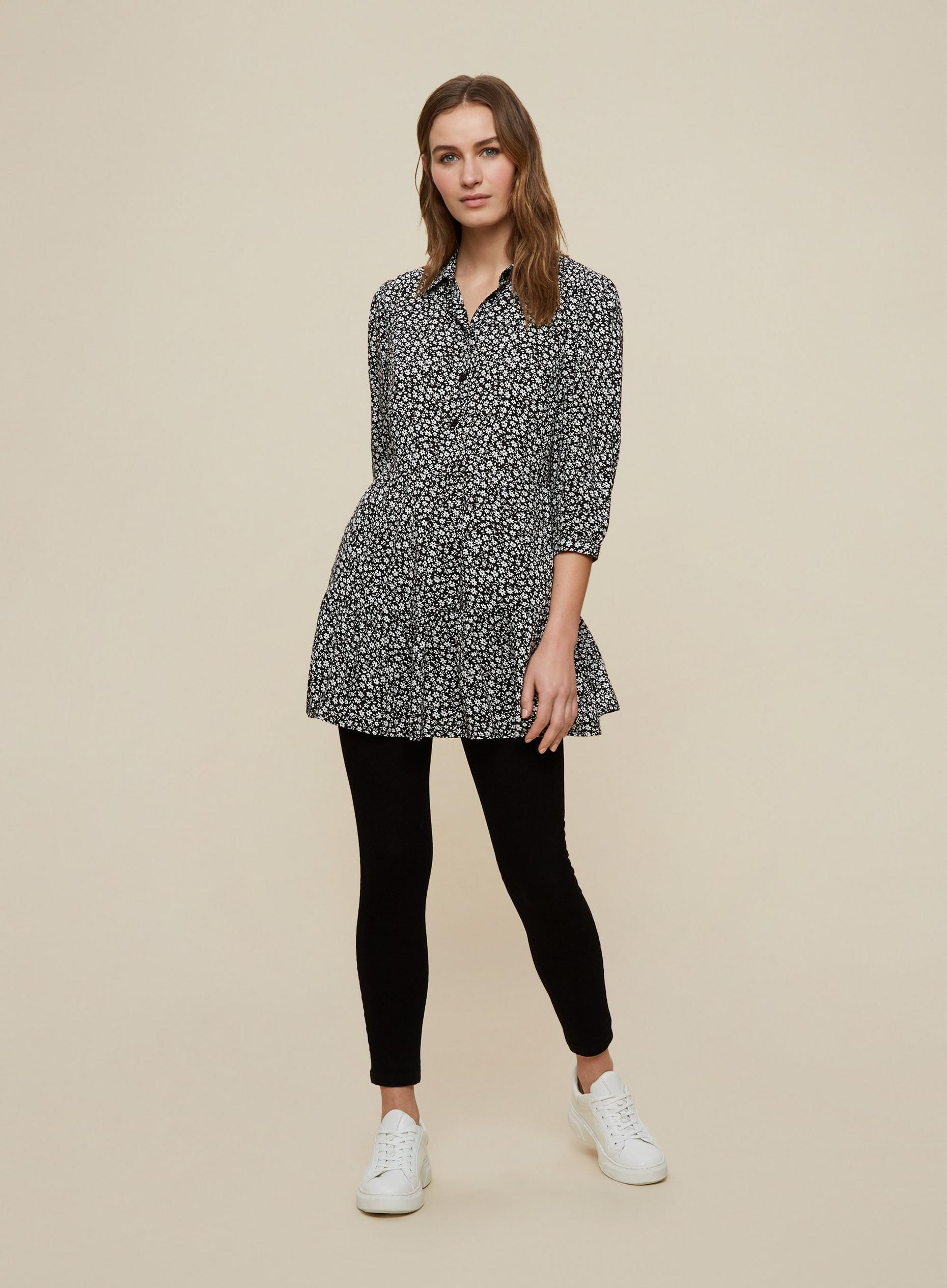 Black Ditsy Printed Collared Tunic