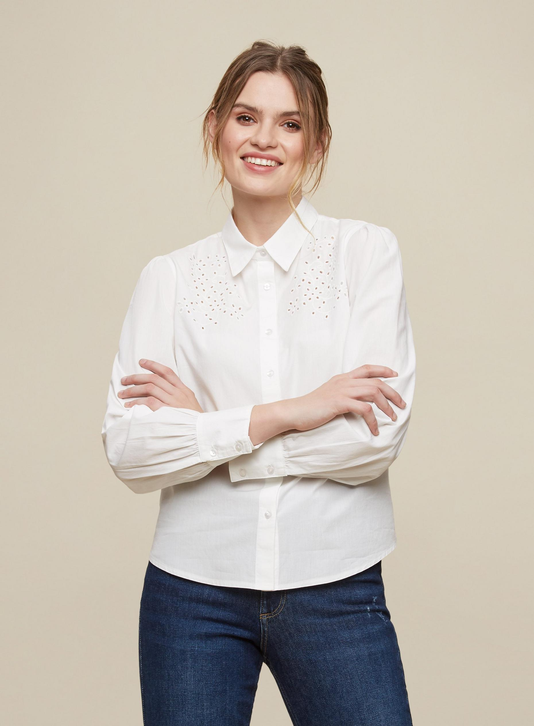 Ivory Broderie Detail Shirt