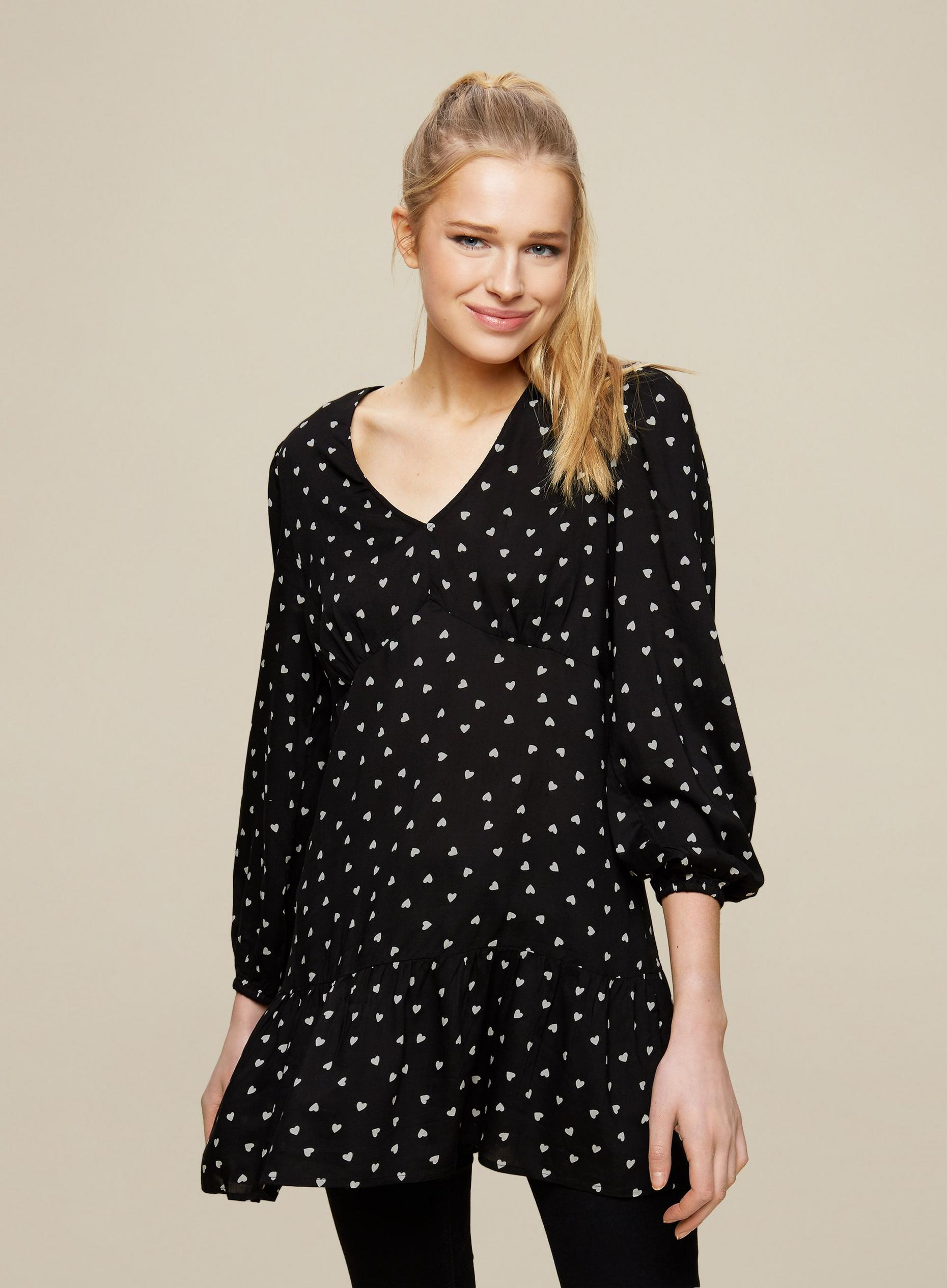 Black Heart Print Tunic