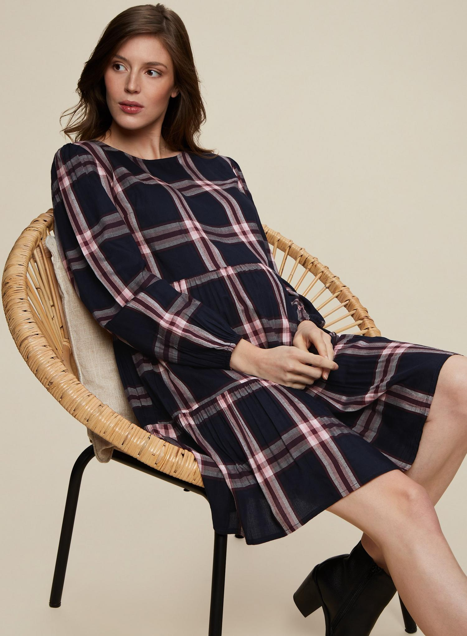 148 Maternity Navy Check Print Smock Dress image number 1