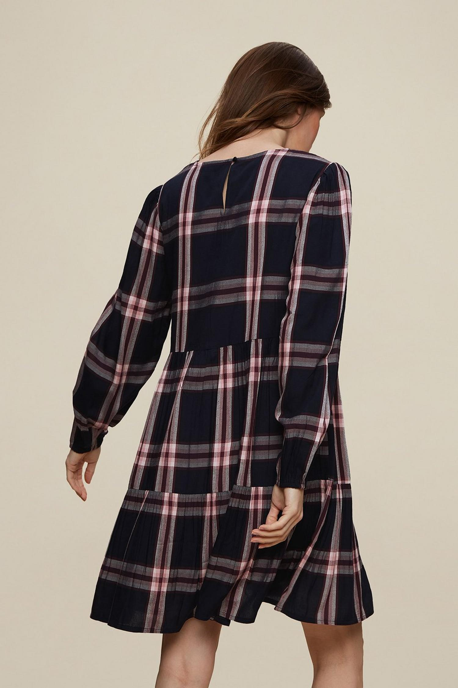 148 Maternity Navy Check Print Smock Dress image number 2