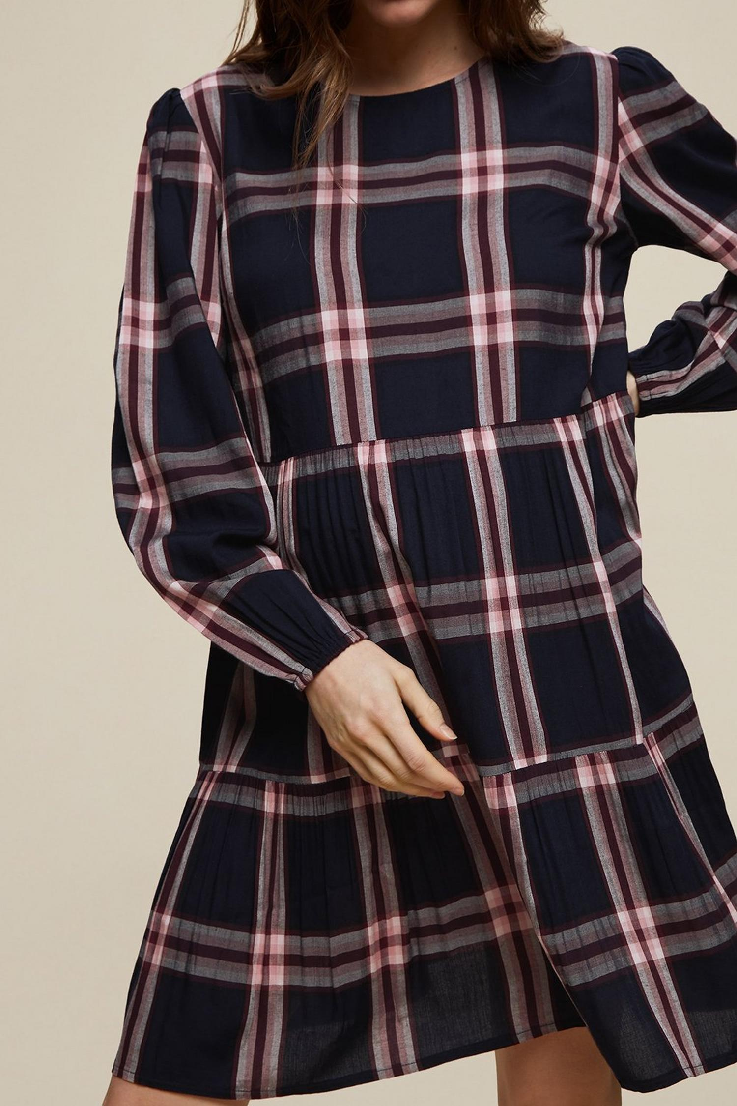 148 Maternity Navy Check Print Smock Dress image number 3