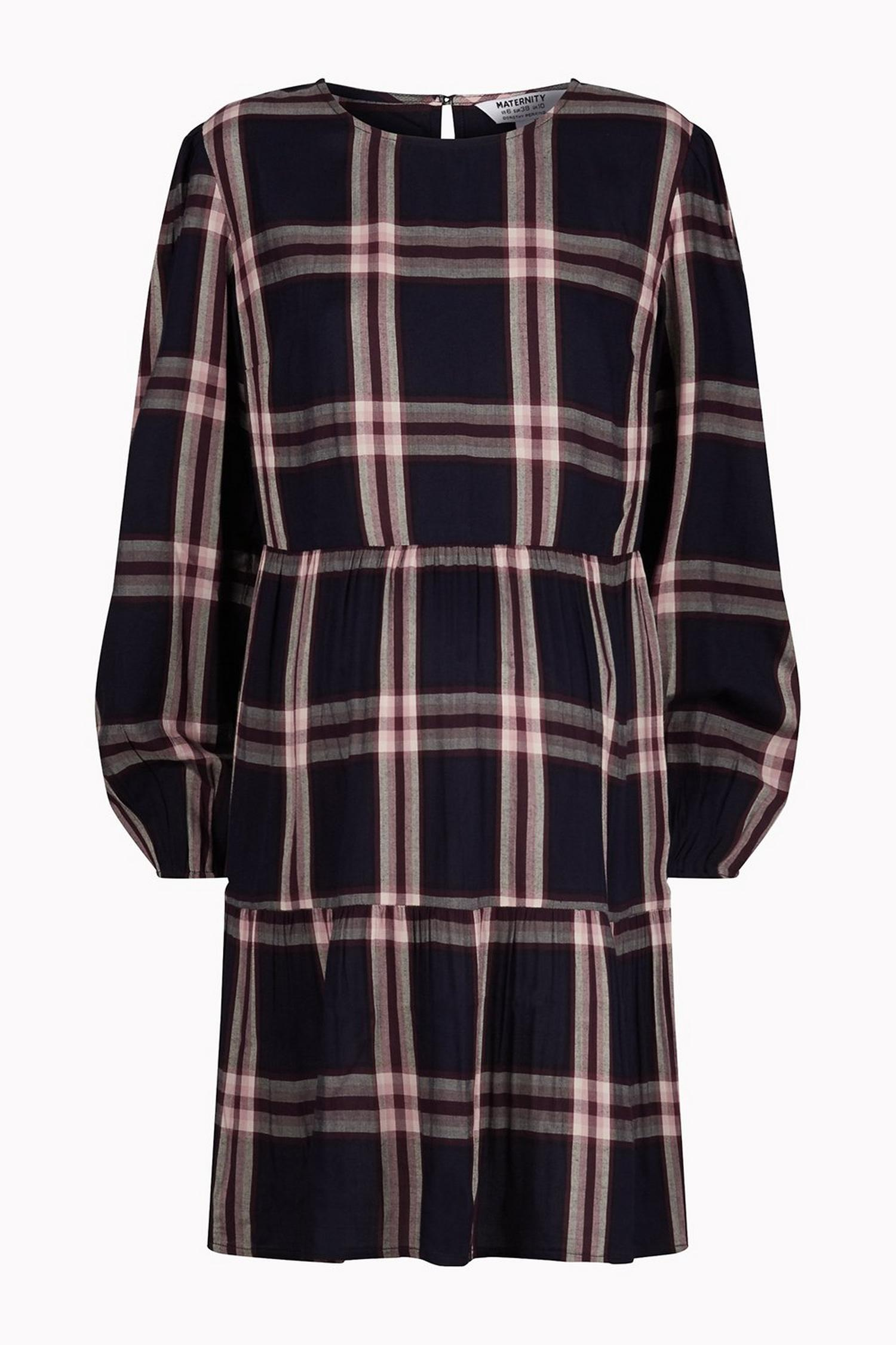 148 Maternity Navy Check Print Smock Dress image number 4