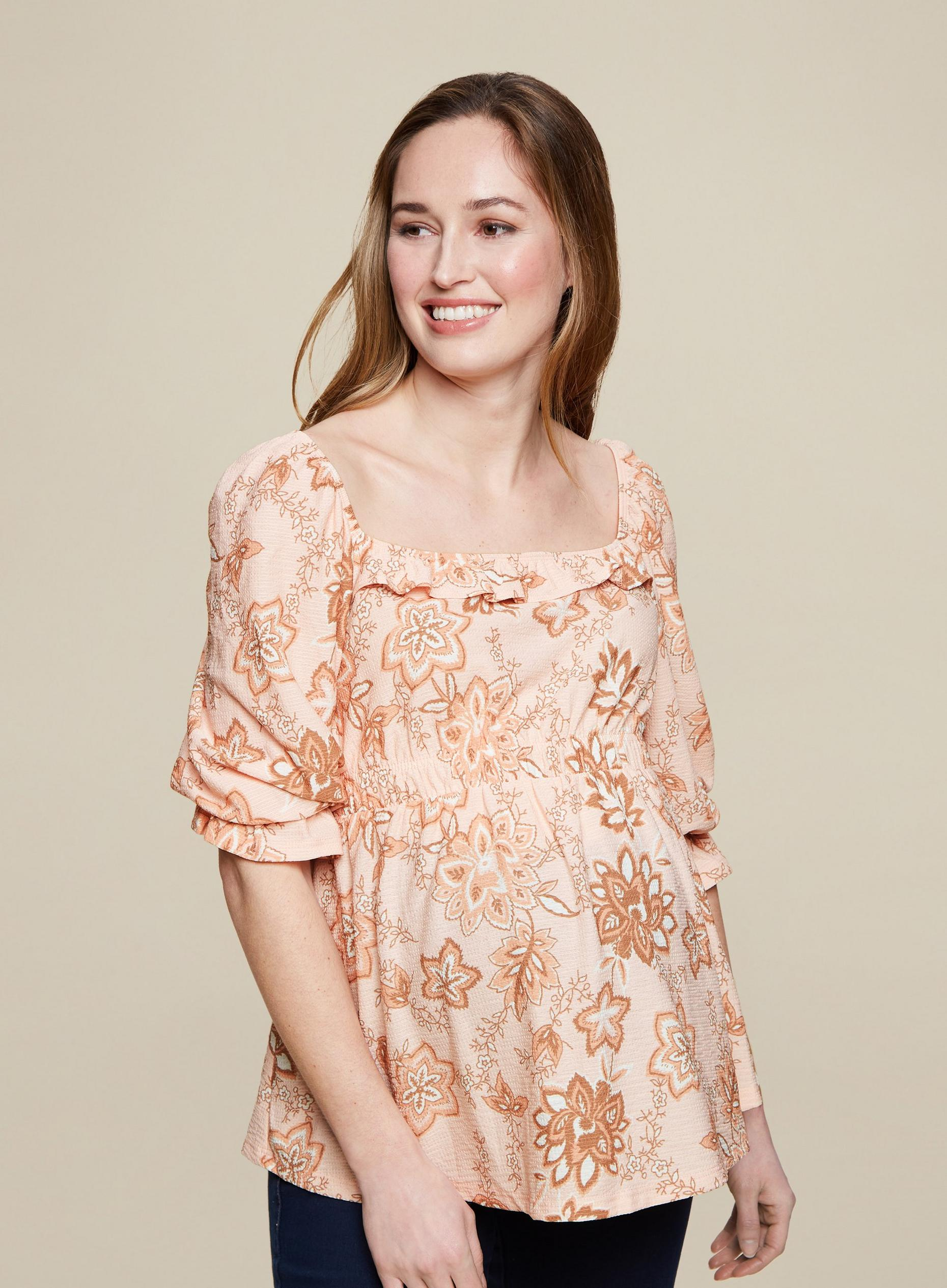Maternity Blush Ditsy Square Neck Top