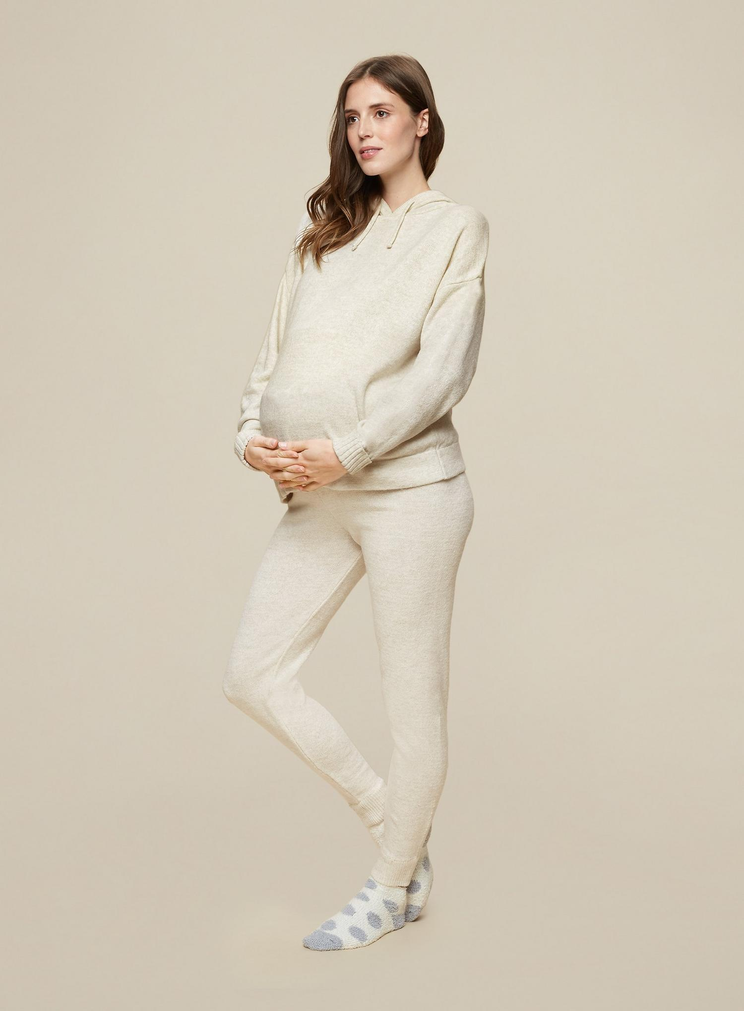 103 Maternity Beige Lounge Knitted Joggers image number 3