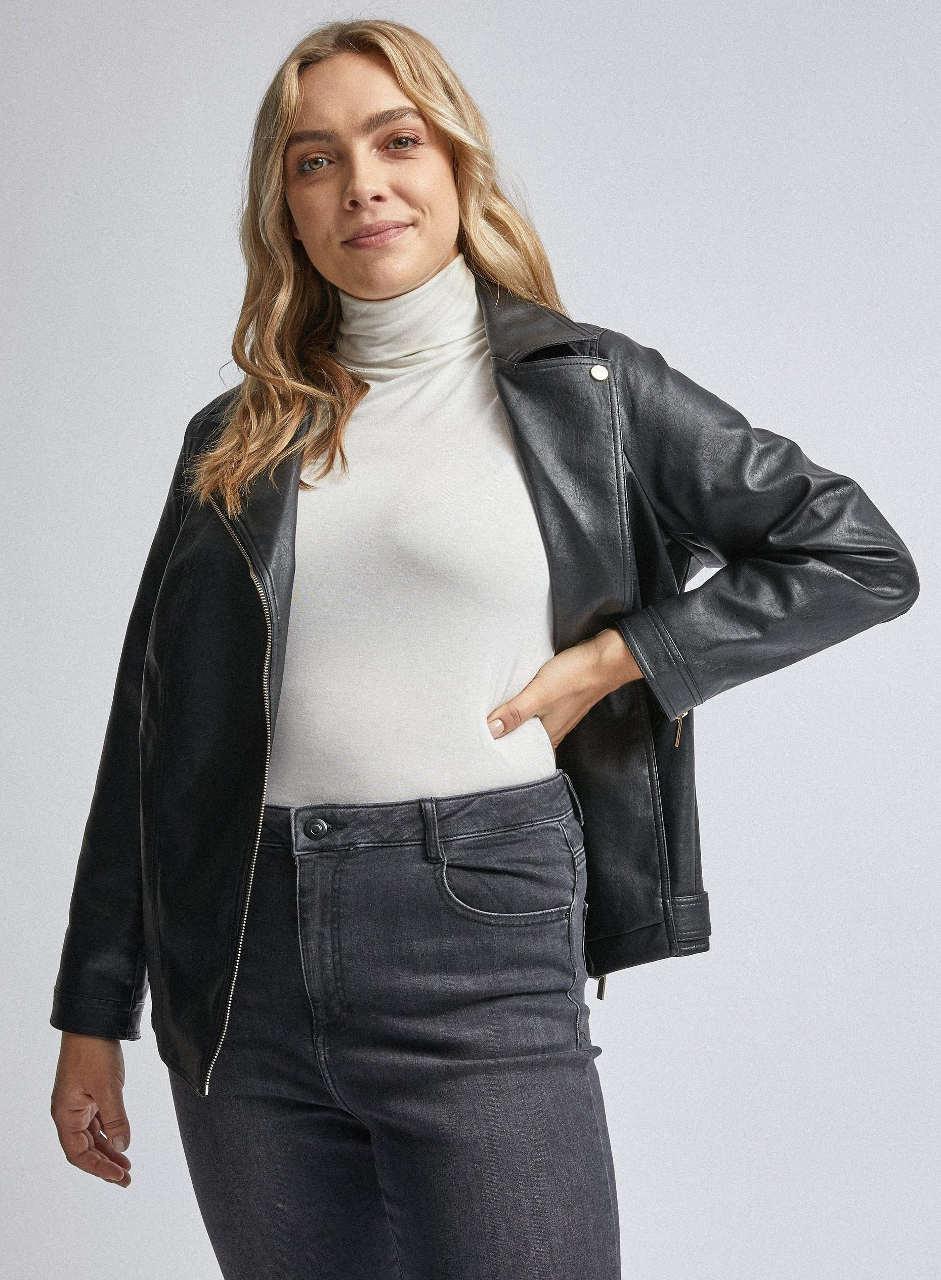 Curve Black PU Biker Jacket