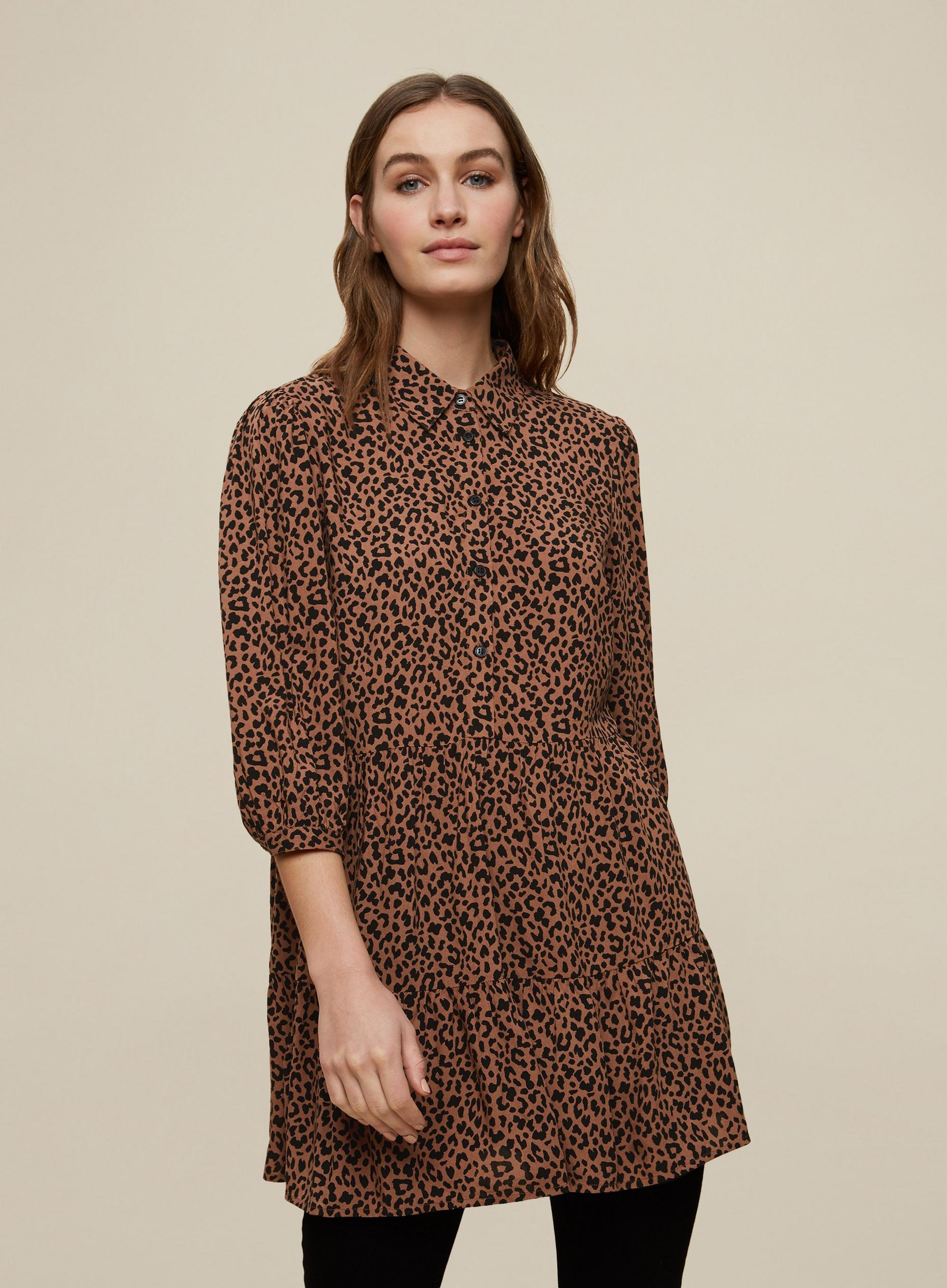Brown Leopard Print Tunic Top