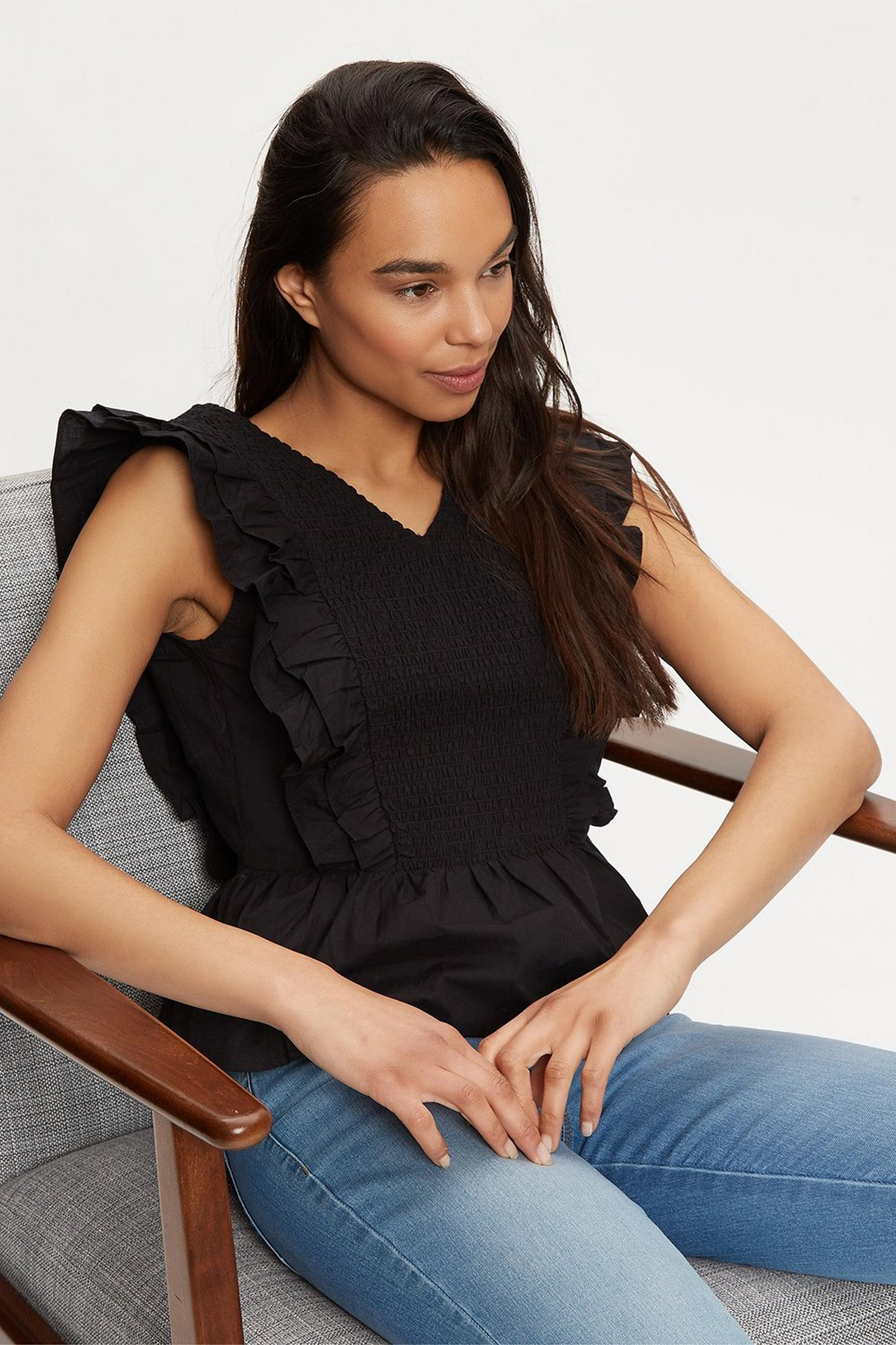 Black Cotton Ruffle Vest