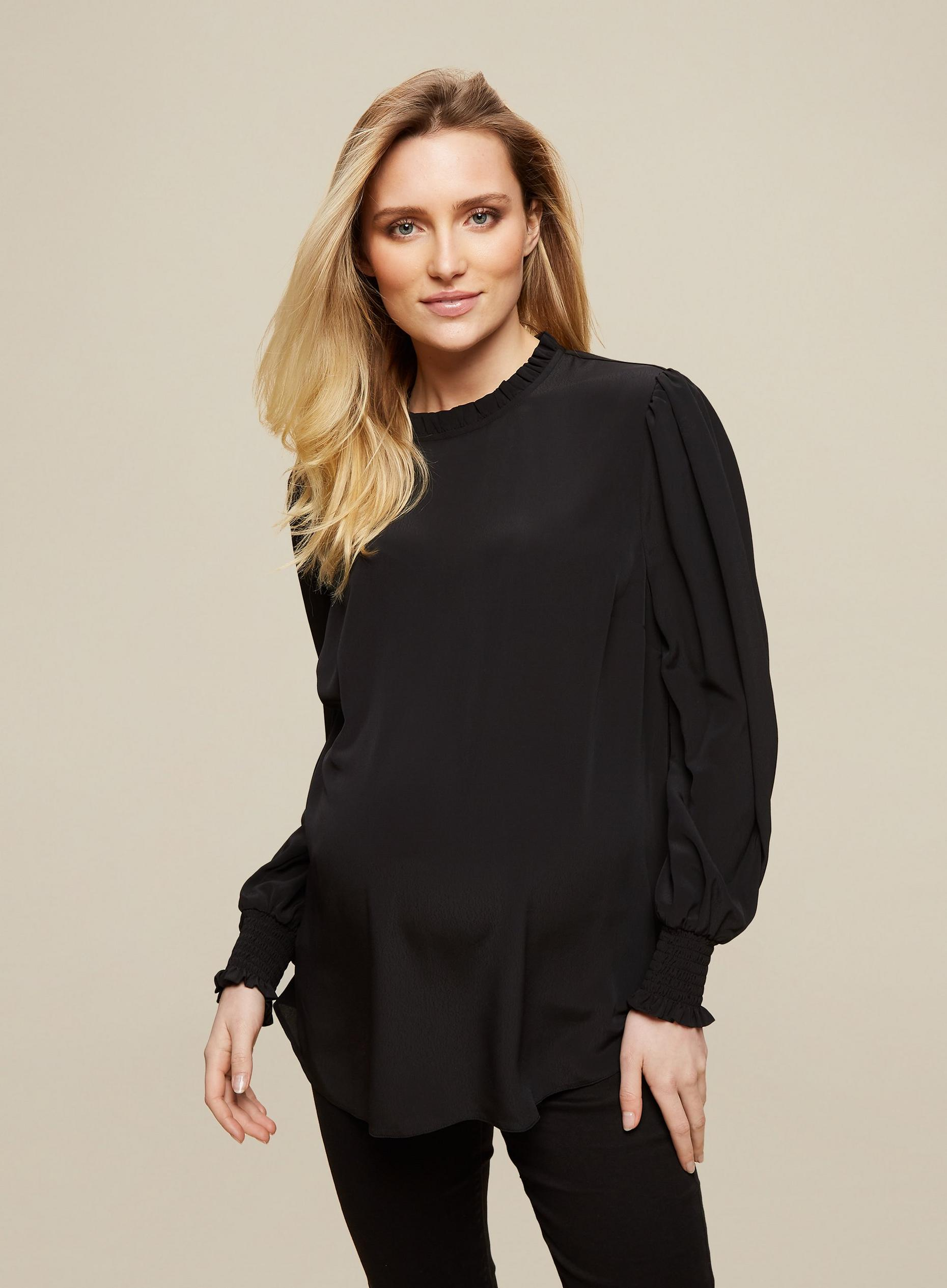 Maternity Black Shirred Cuff Top