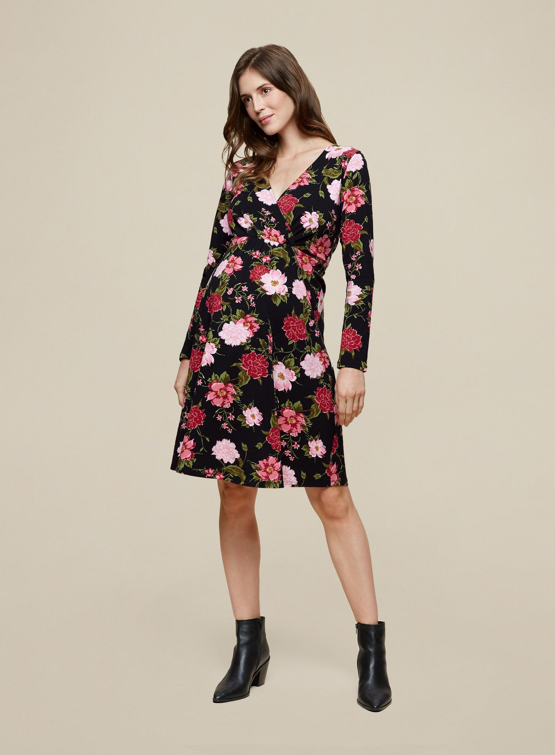 Maternity Floral Wrap Dress
