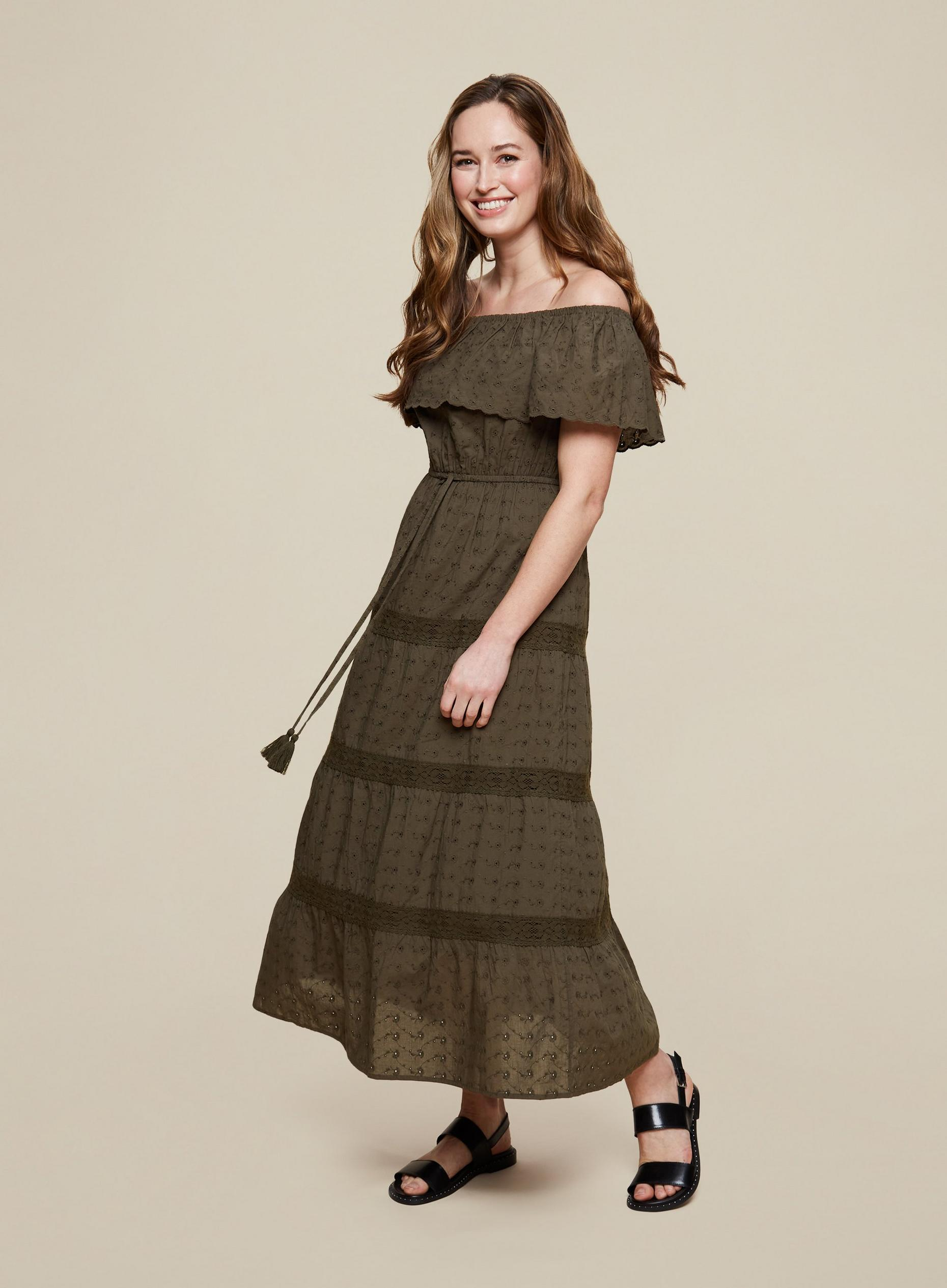 Khaki Broderie Bardot Dress