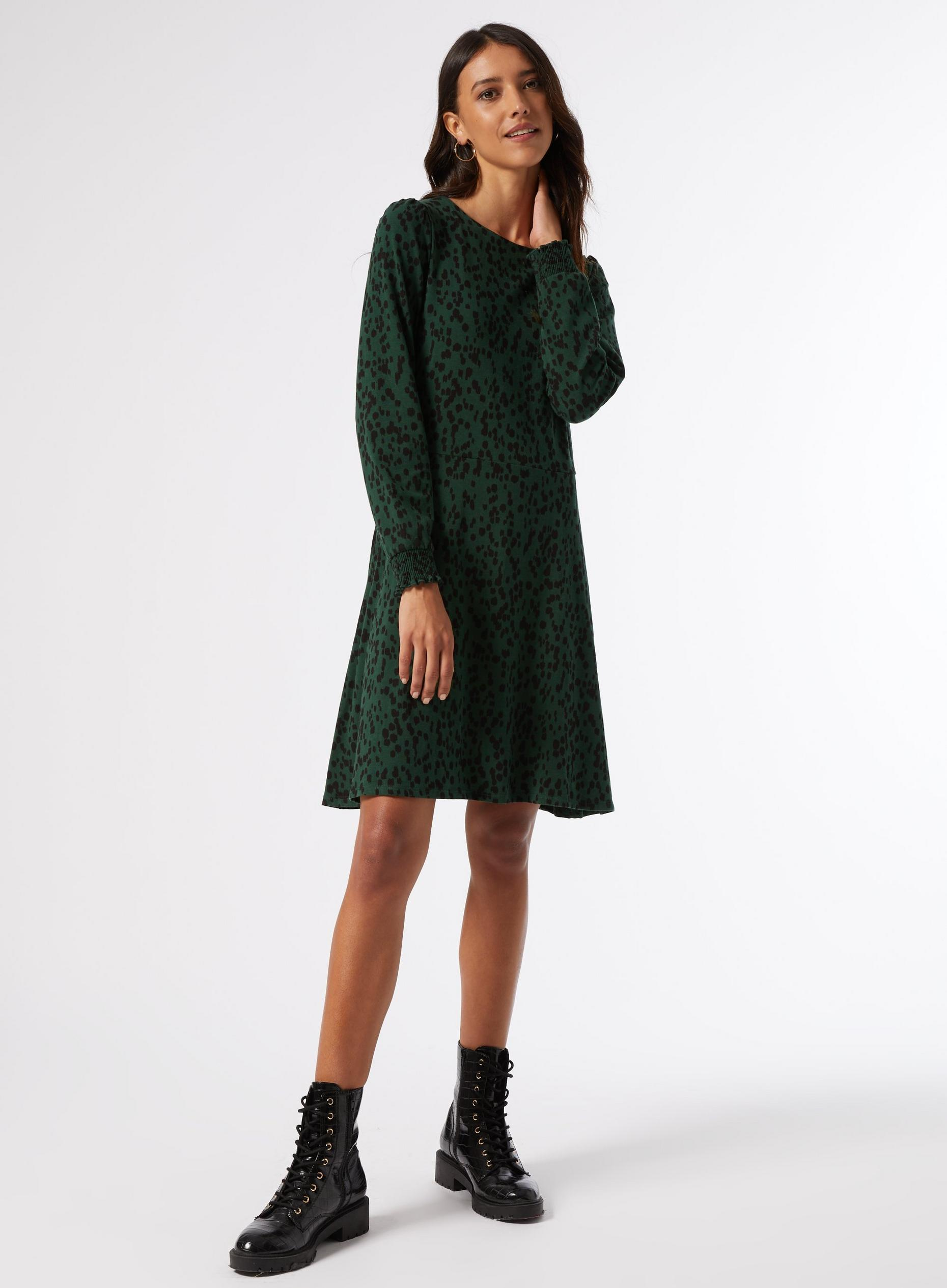 Green Spot Mini Dress With Organic Cotton