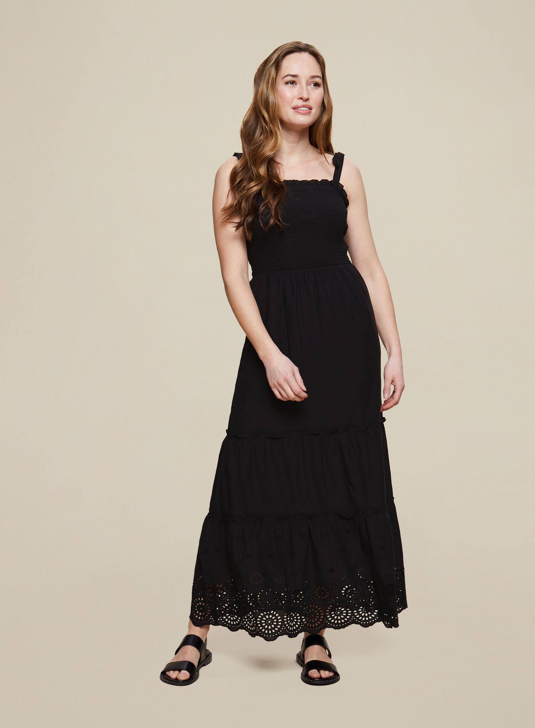 Black Broderie Camisole Dress